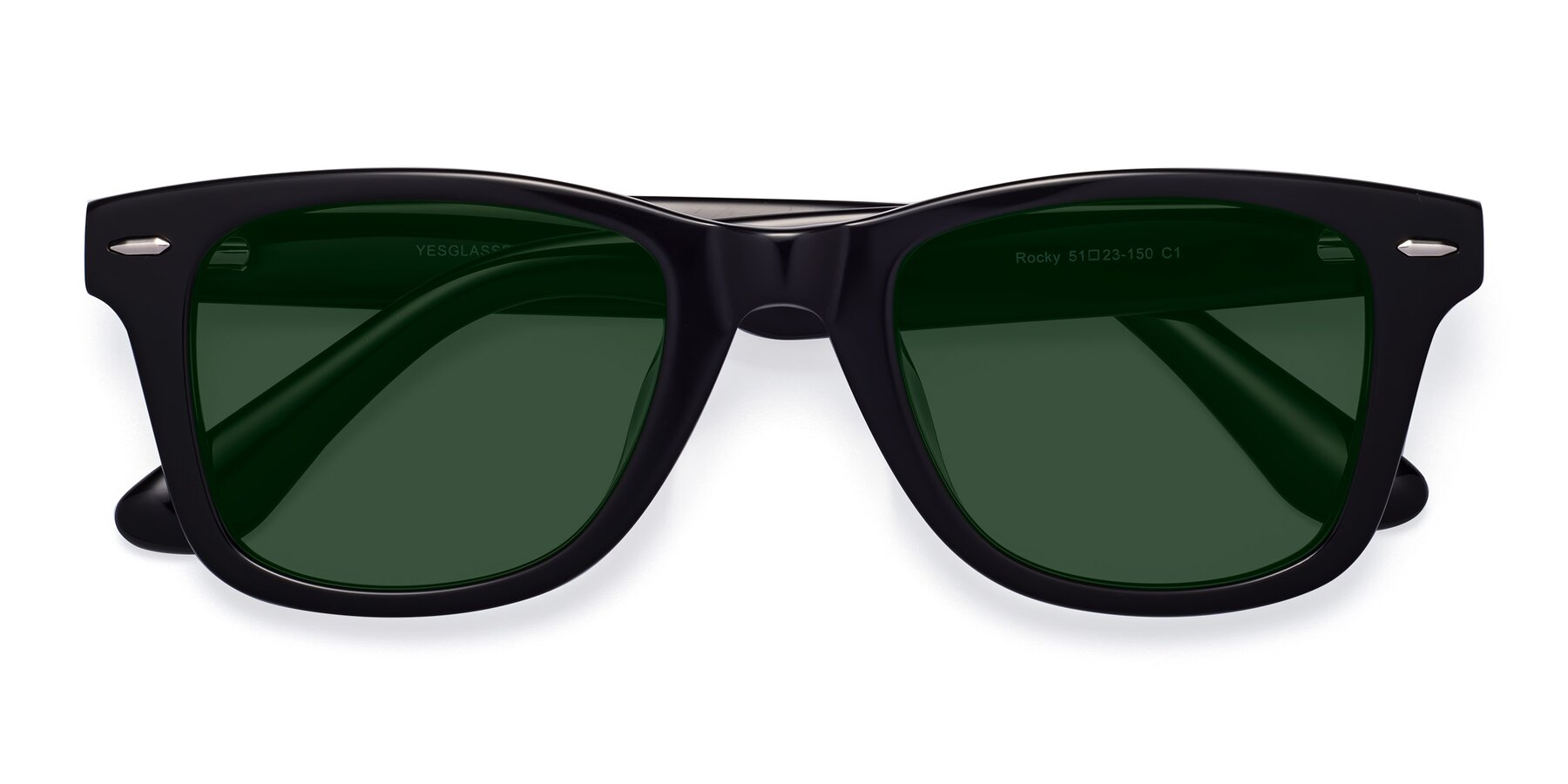 Folded Front of Rocky in Black with Green Tinted Lenses
