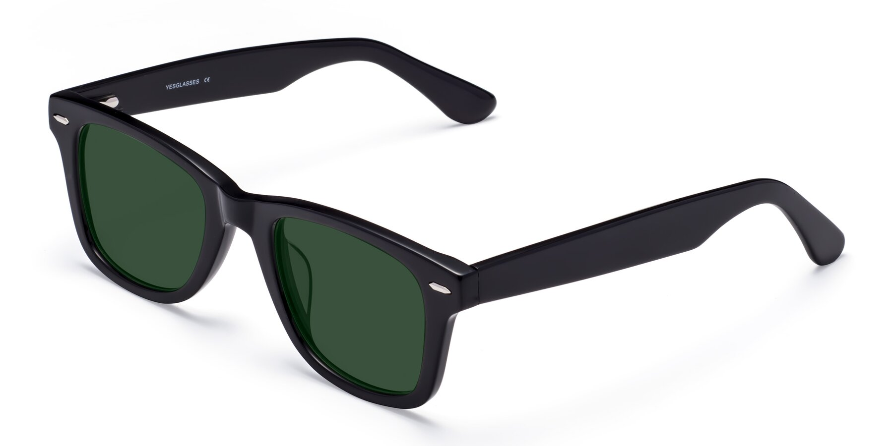 Angle of Rocky in Black with Green Tinted Lenses