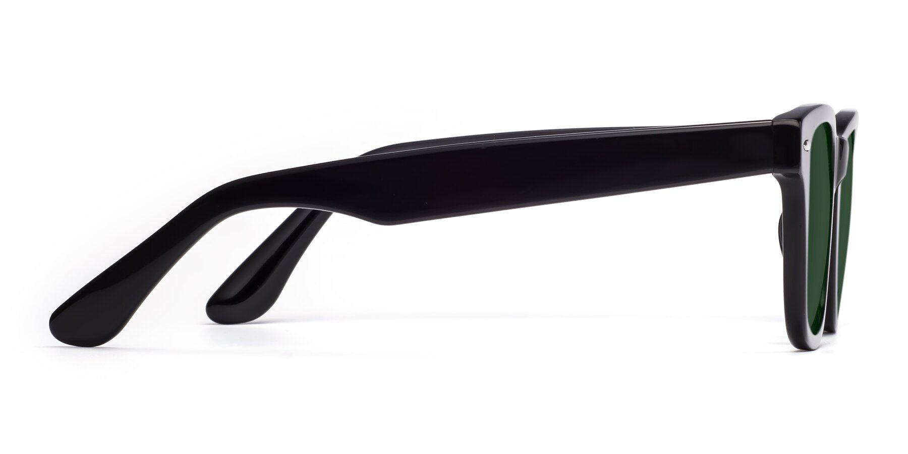 Side of Rocky in Black with Green Tinted Lenses
