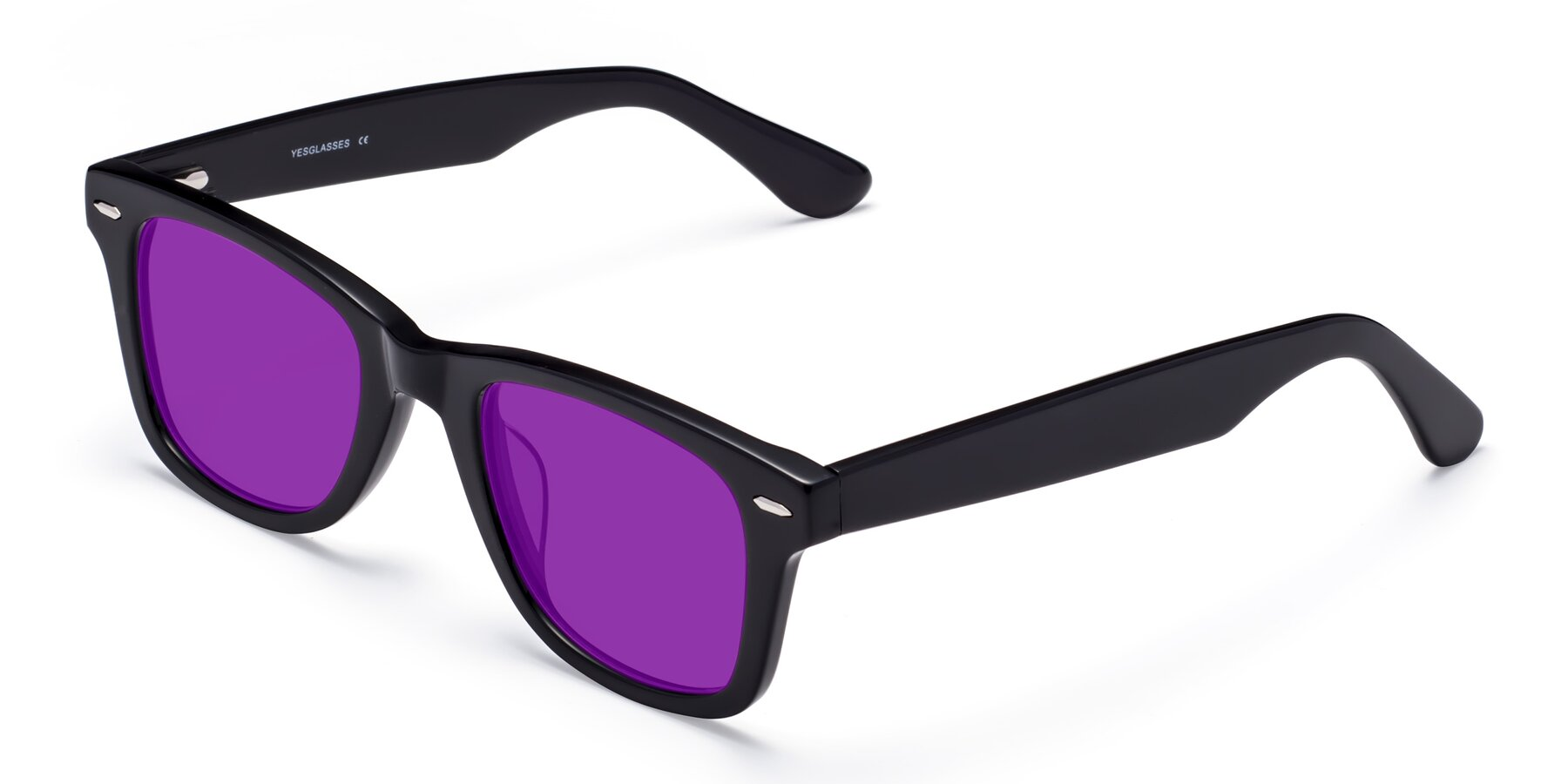Angle of Rocky in Black with Purple Tinted Lenses