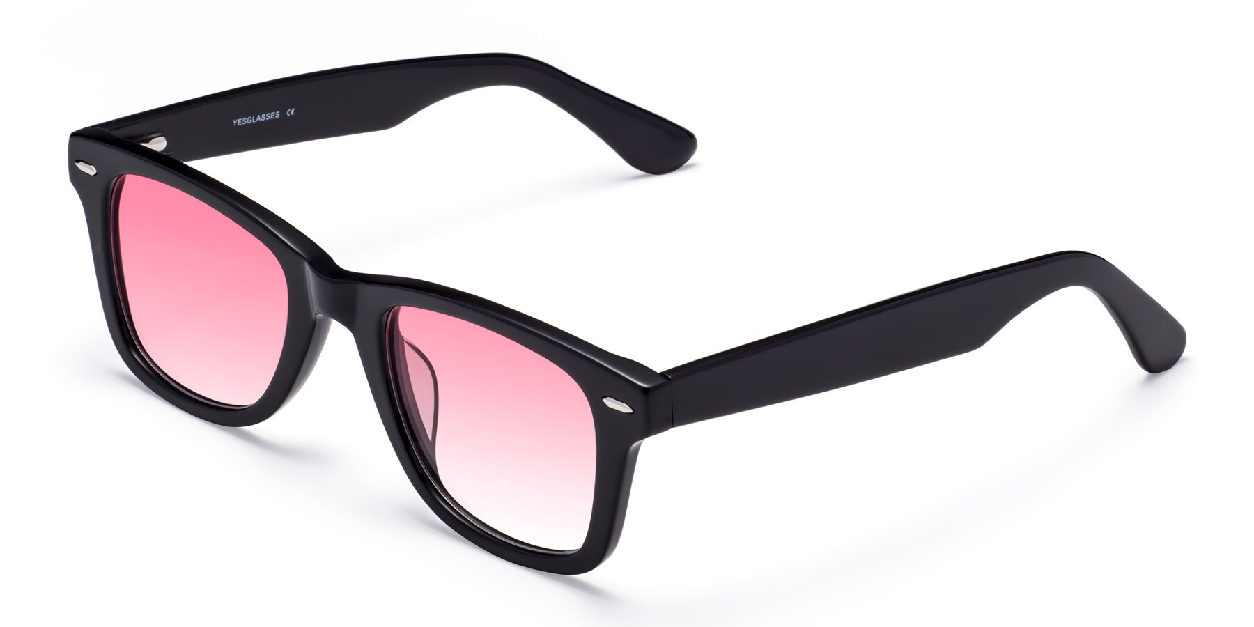 Angle of Rocky in Black with Pink Gradient Lenses