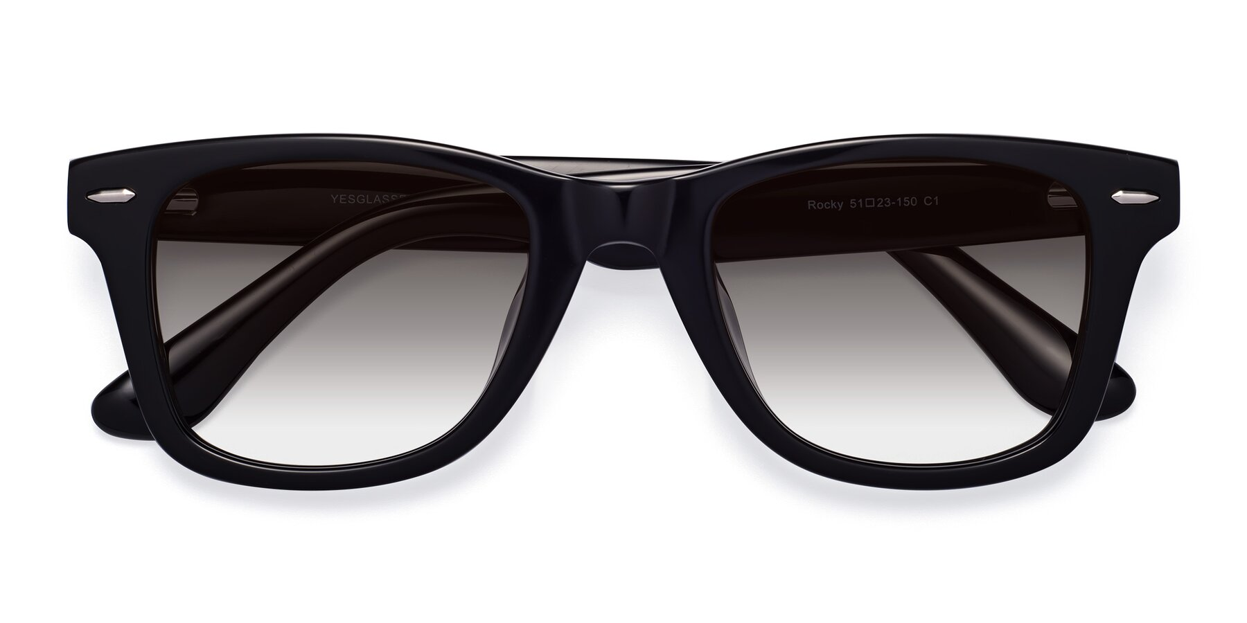 Folded Front of Rocky in Black with Gray Gradient Lenses