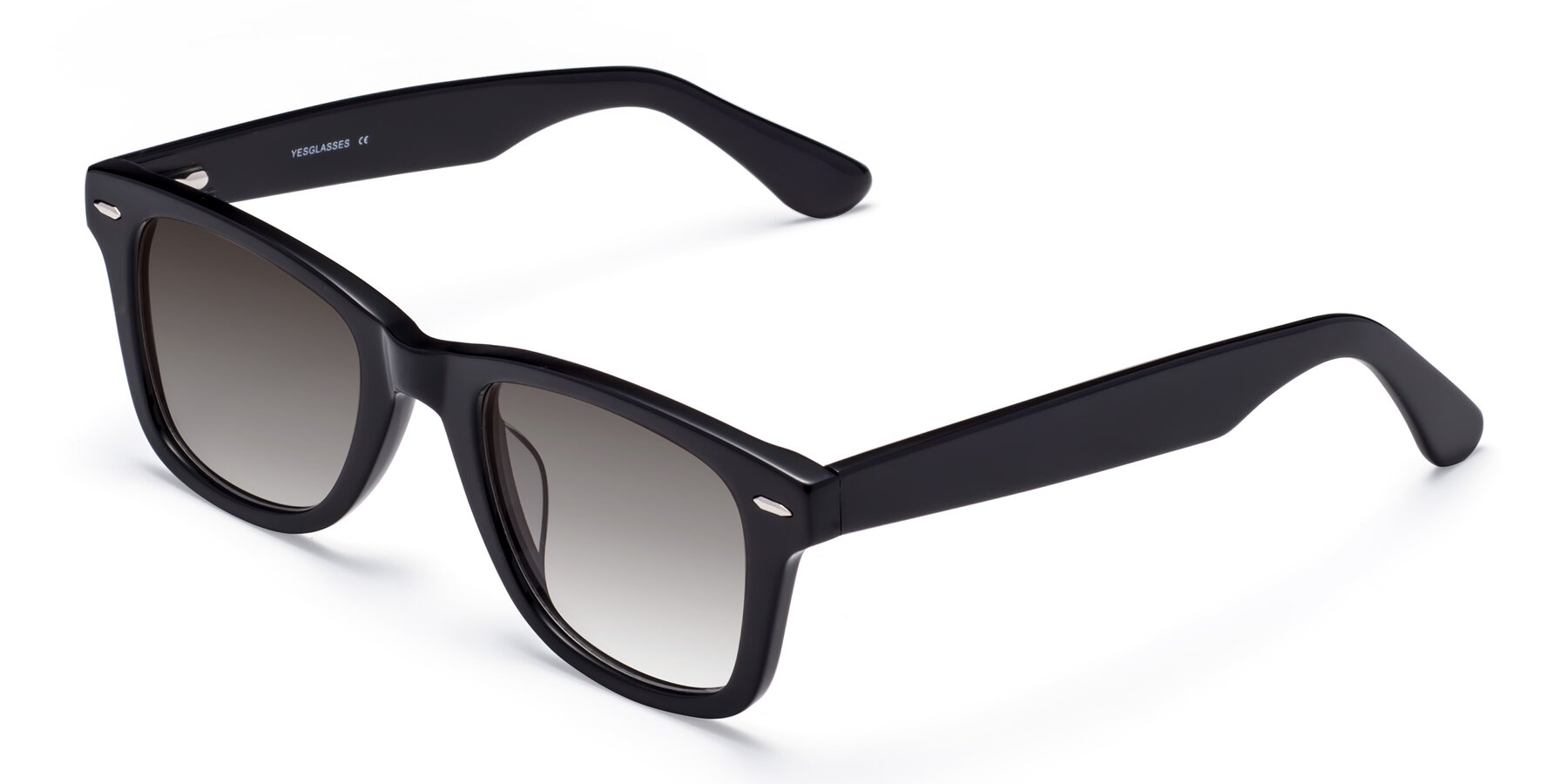 Angle of Rocky in Black with Gray Gradient Lenses