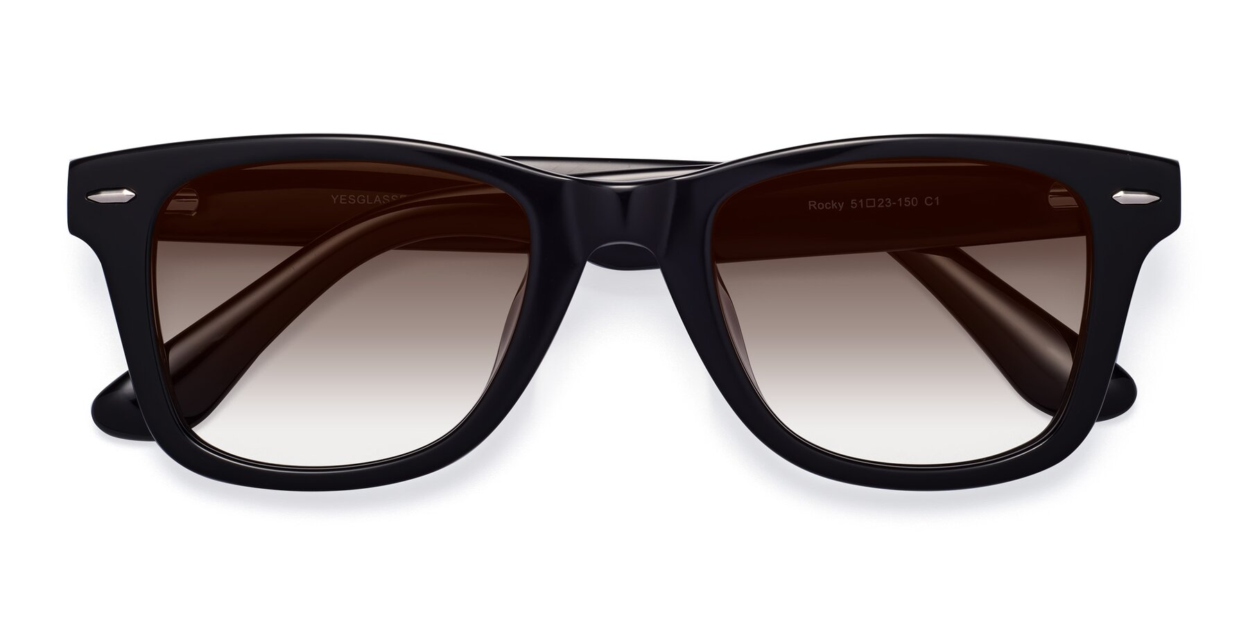 Folded Front of Rocky in Black with Brown Gradient Lenses