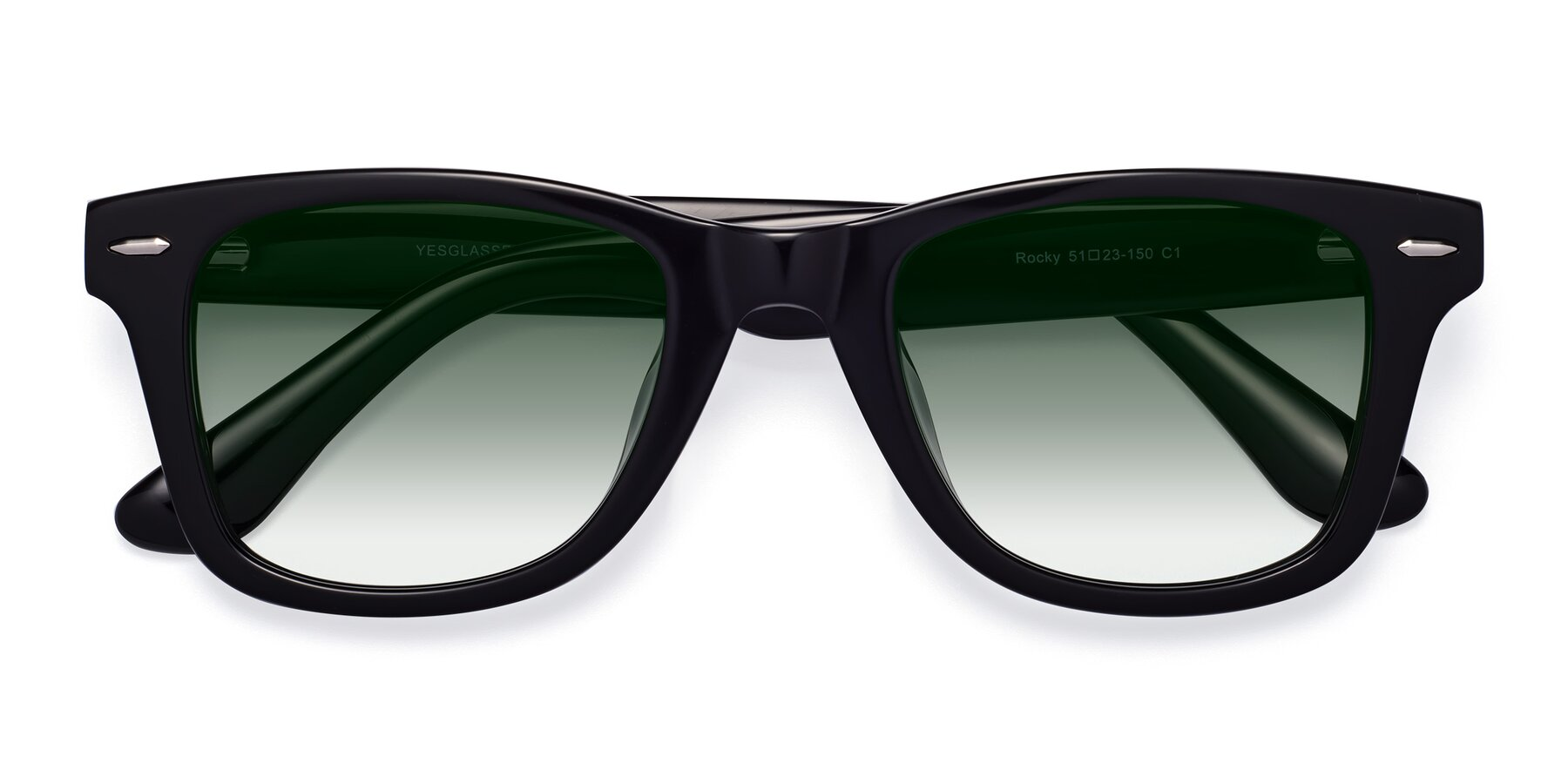 Folded Front of Rocky in Black with Green Gradient Lenses