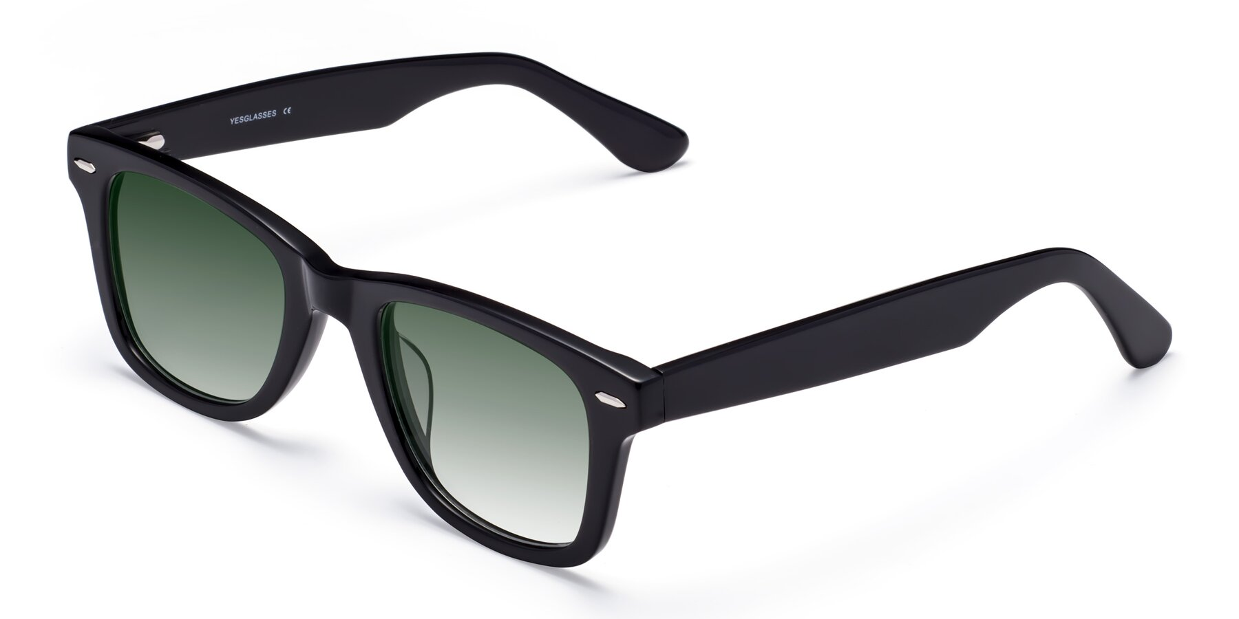 Angle of Rocky in Black with Green Gradient Lenses