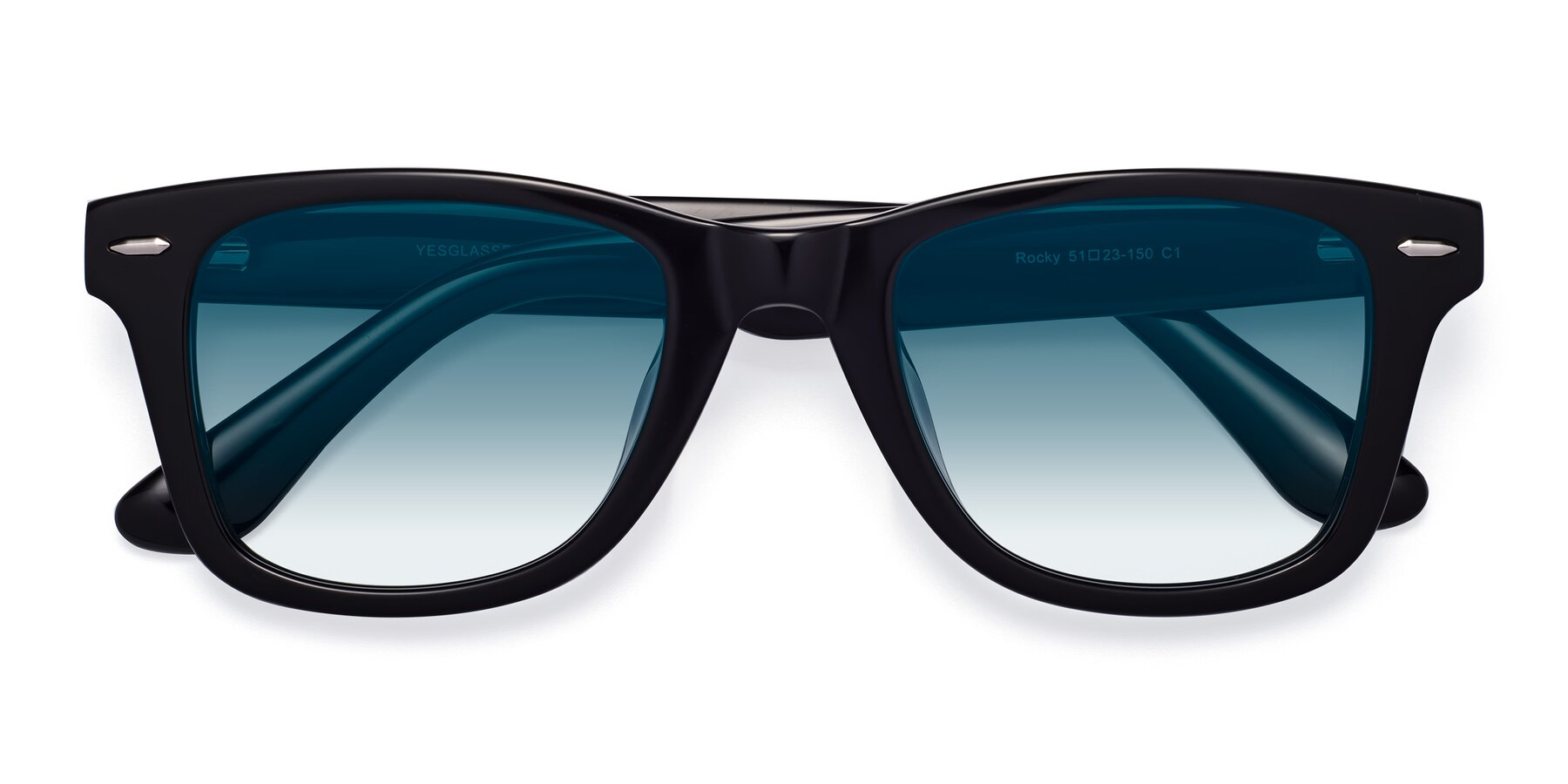 Folded Front of Rocky in Black with Blue Gradient Lenses