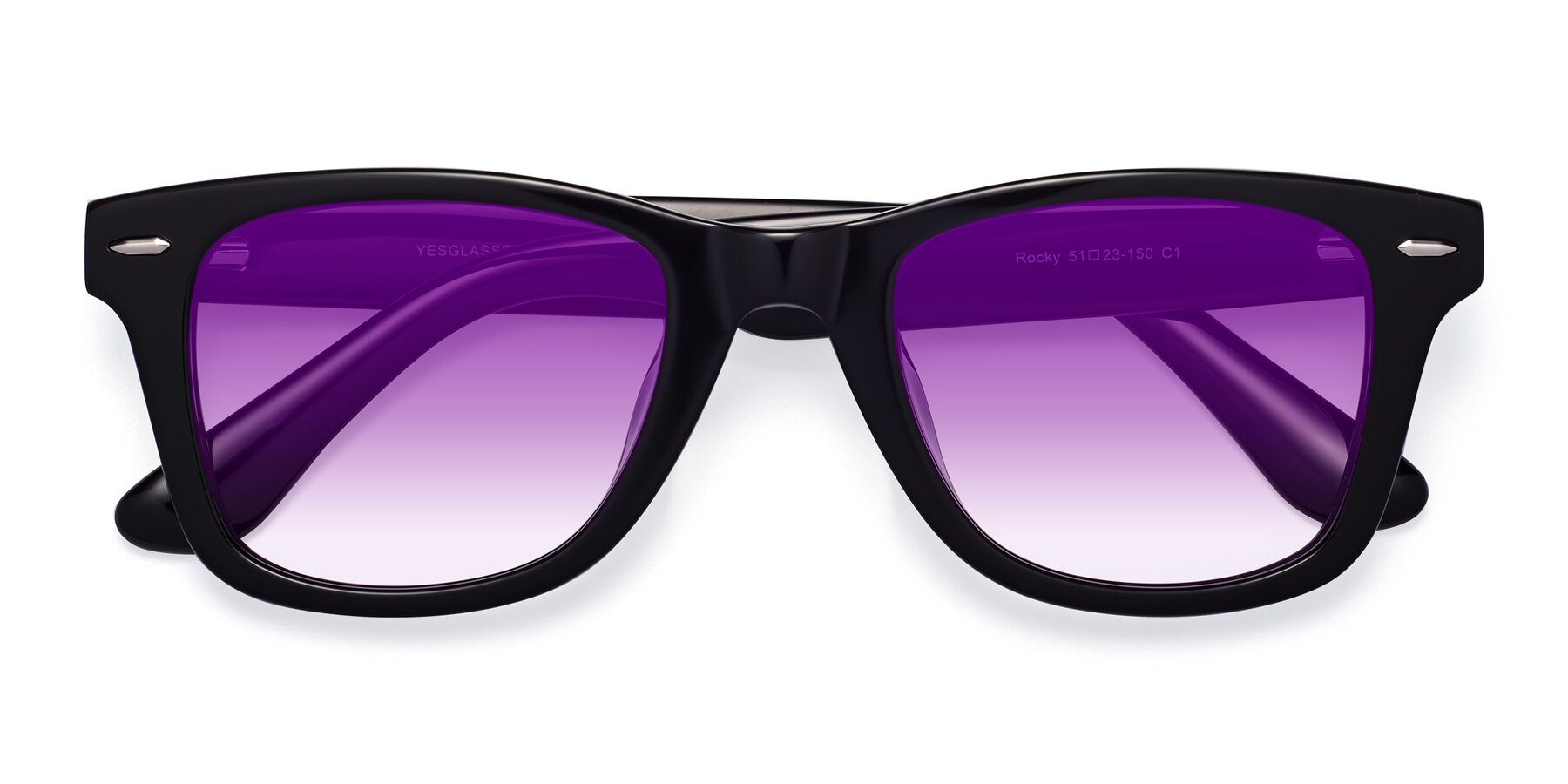 Folded Front of Rocky in Black with Purple Gradient Lenses