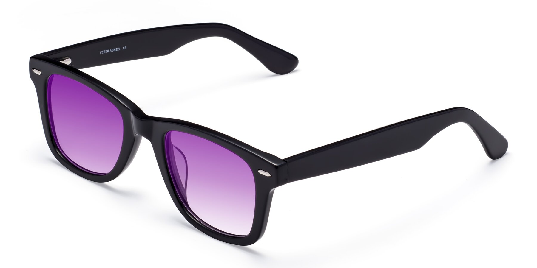 Angle of Rocky in Black with Purple Gradient Lenses