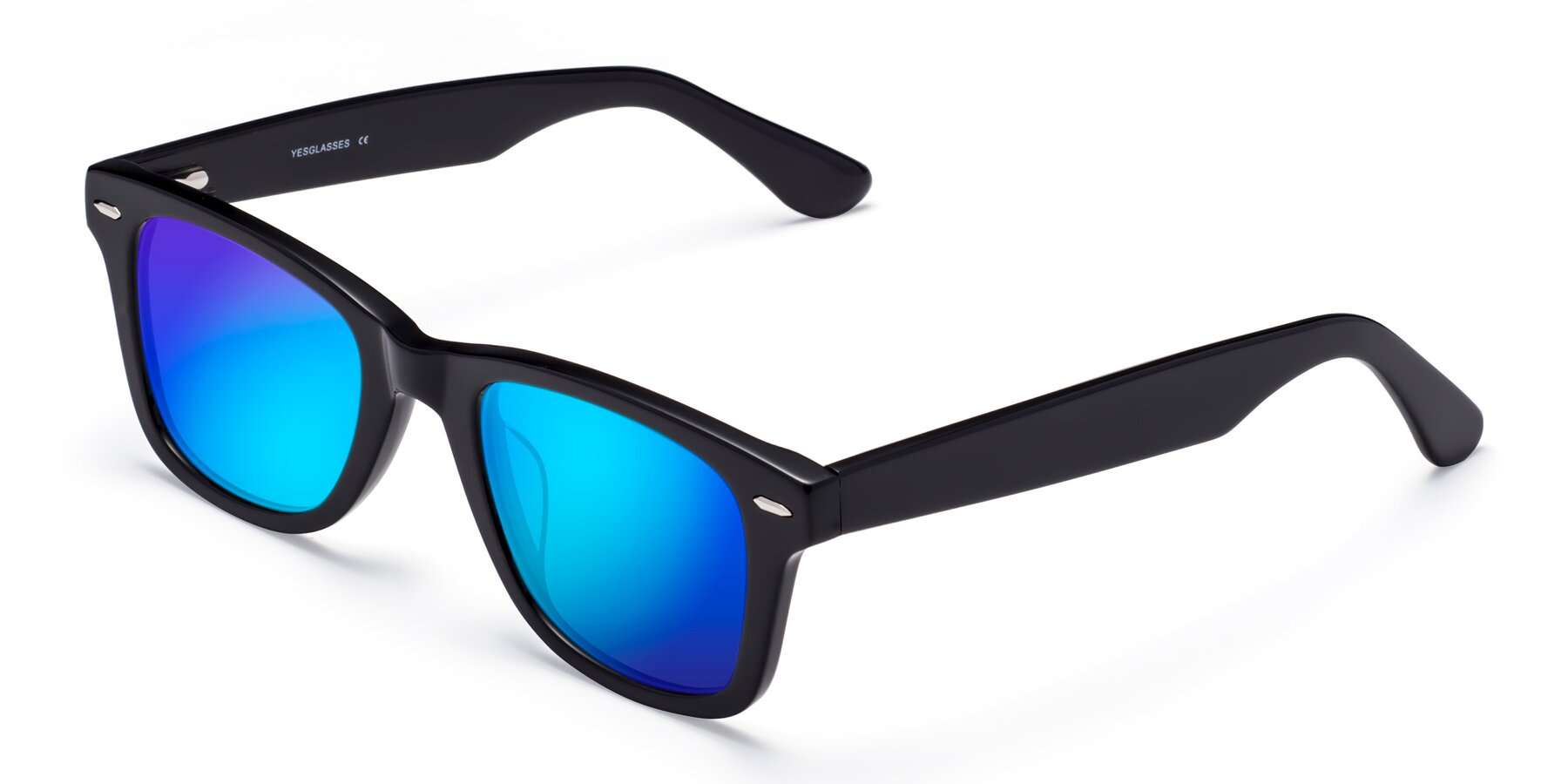 Angle of Rocky in Black with Blue Mirrored Lenses