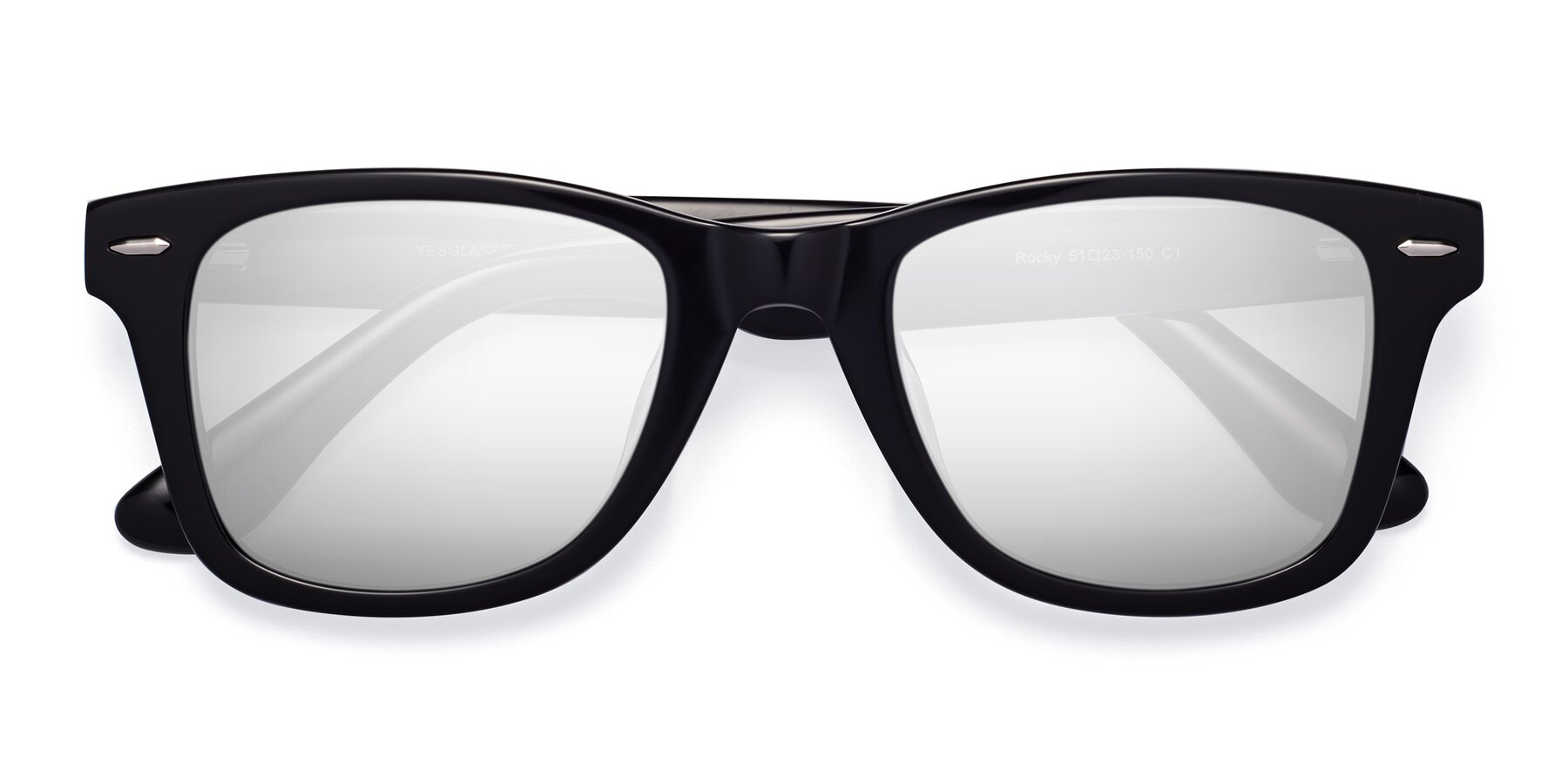 Folded Front of Rocky in Black with Silver Mirrored Lenses