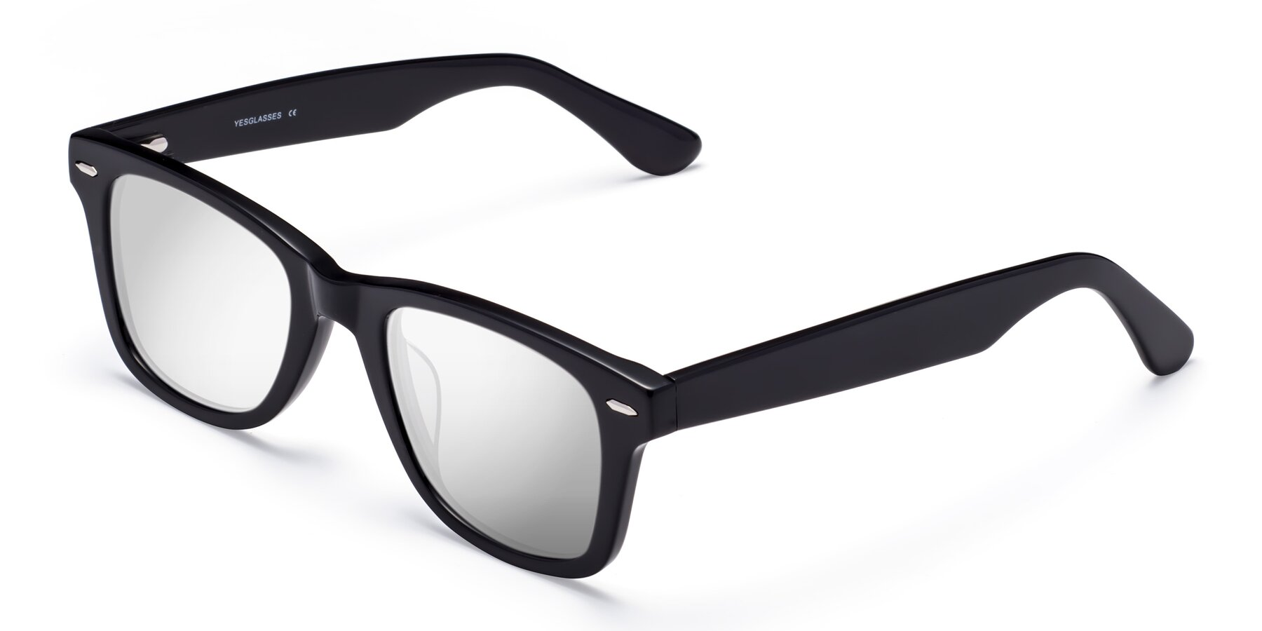 Angle of Rocky in Black with Silver Mirrored Lenses