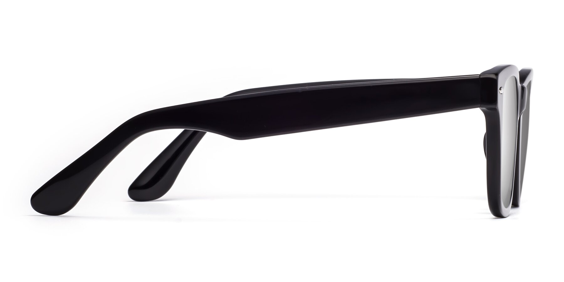 Side of Rocky in Black with Silver Mirrored Lenses