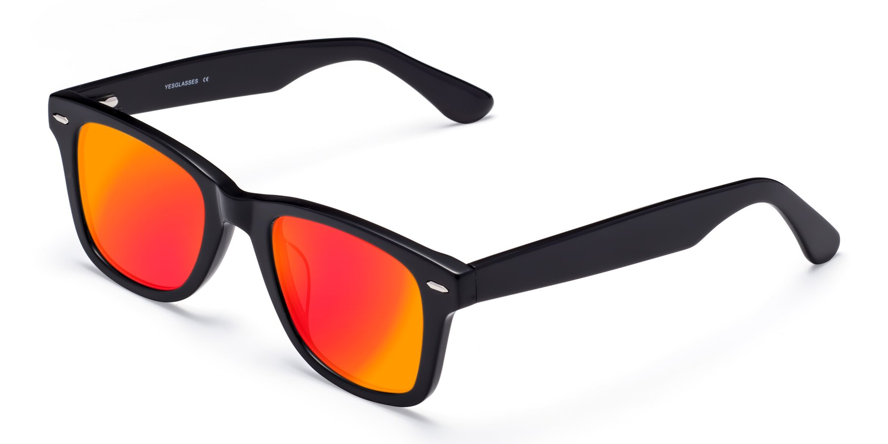 Angle of Rocky in Black with Red Gold Mirrored Lenses