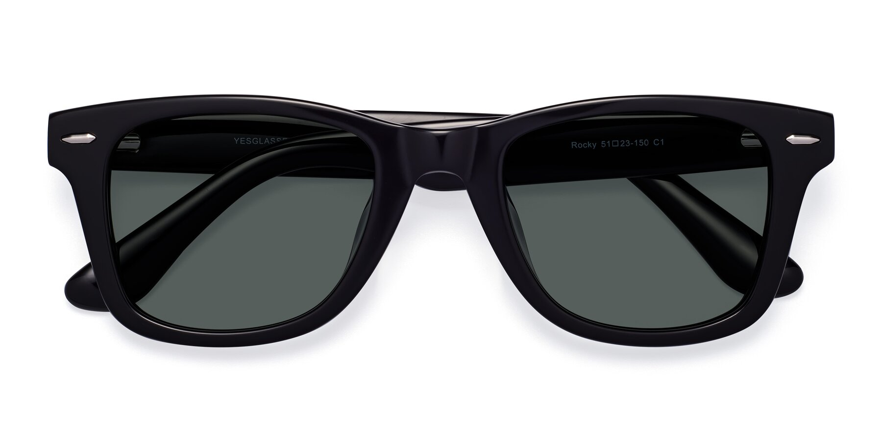 Folded Front of Rocky in Black with Gray Polarized Lenses
