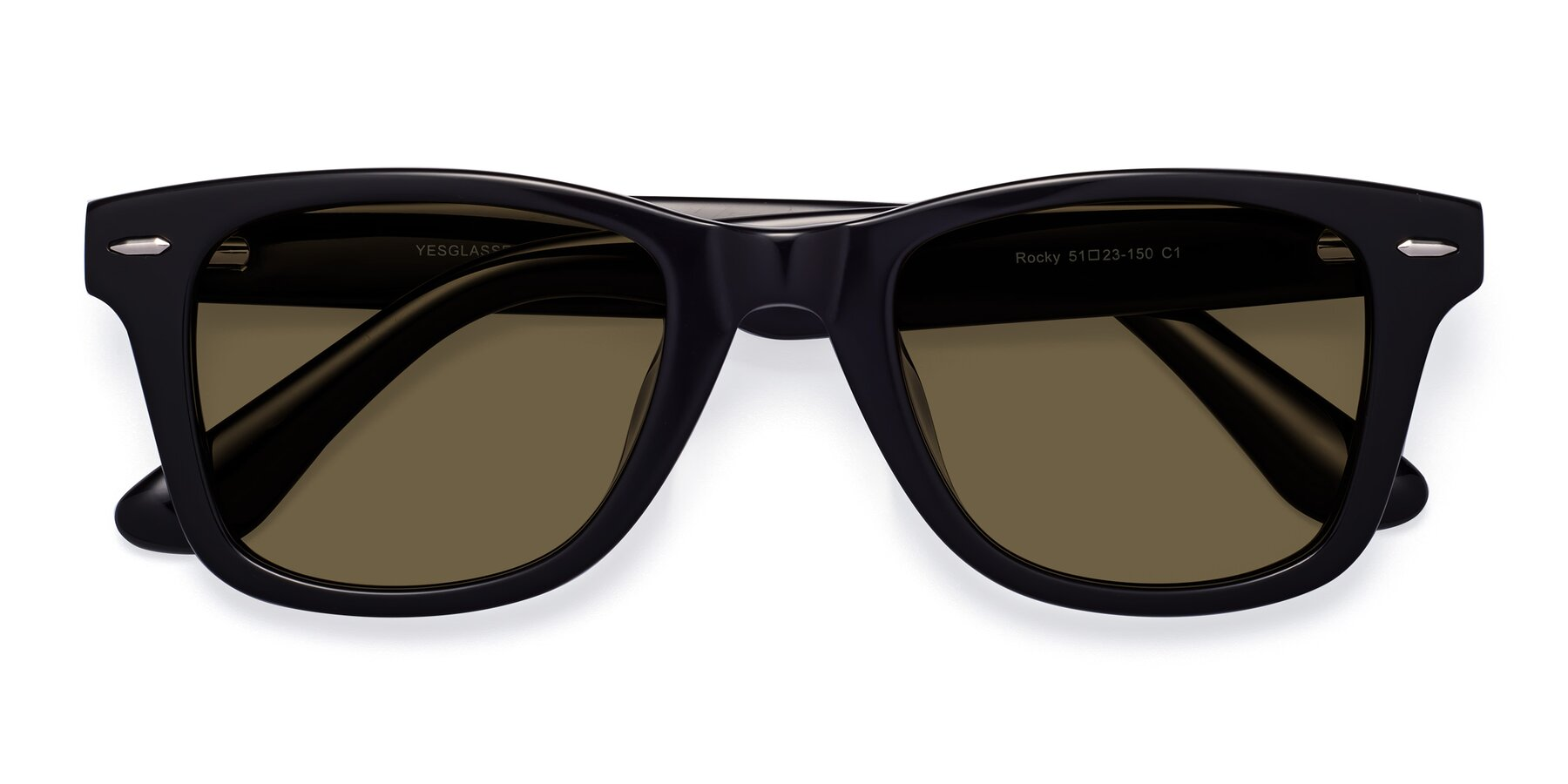Folded Front of Rocky in Black with Brown Polarized Lenses