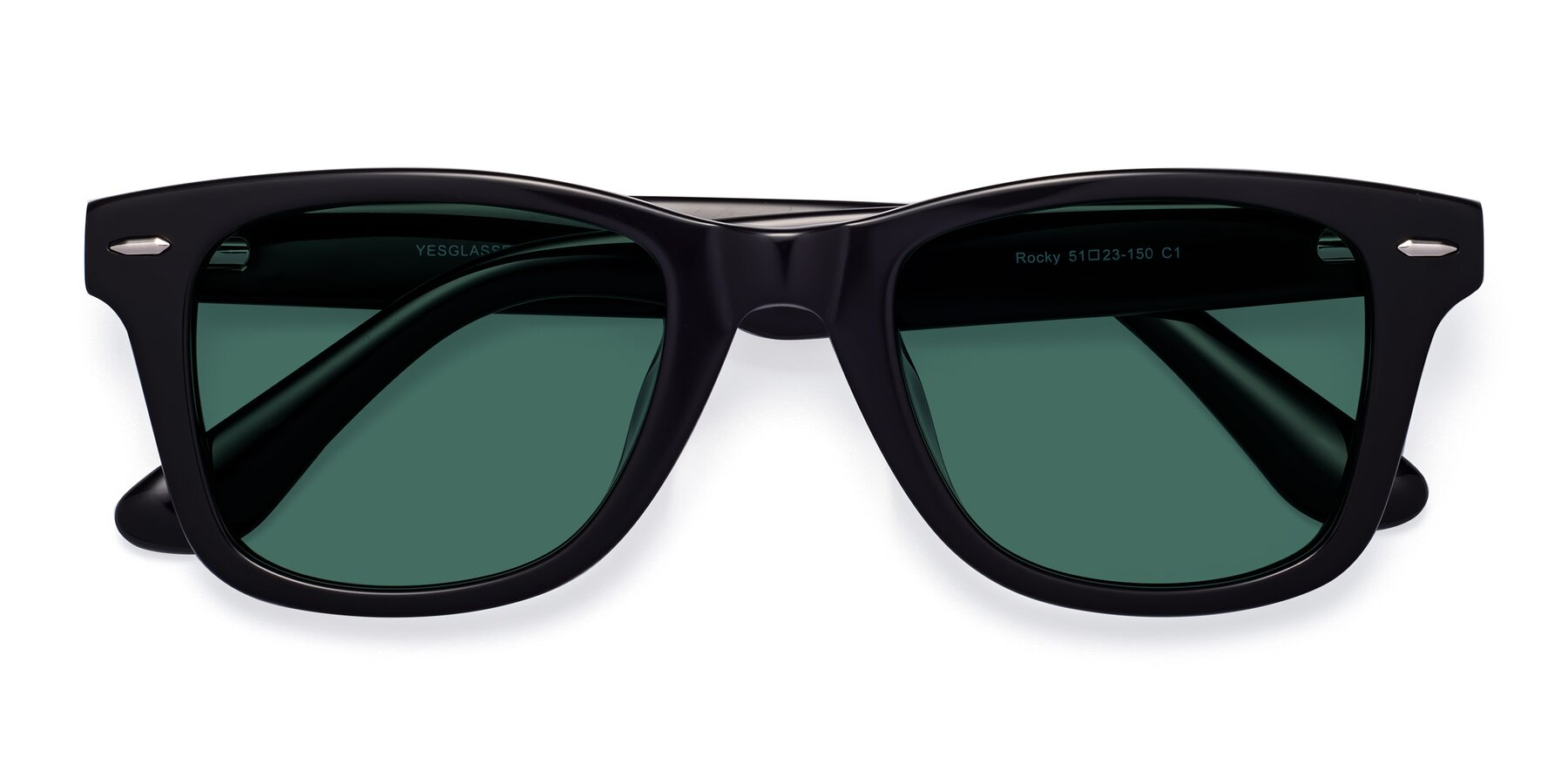 Folded Front of Rocky in Black with Green Polarized Lenses
