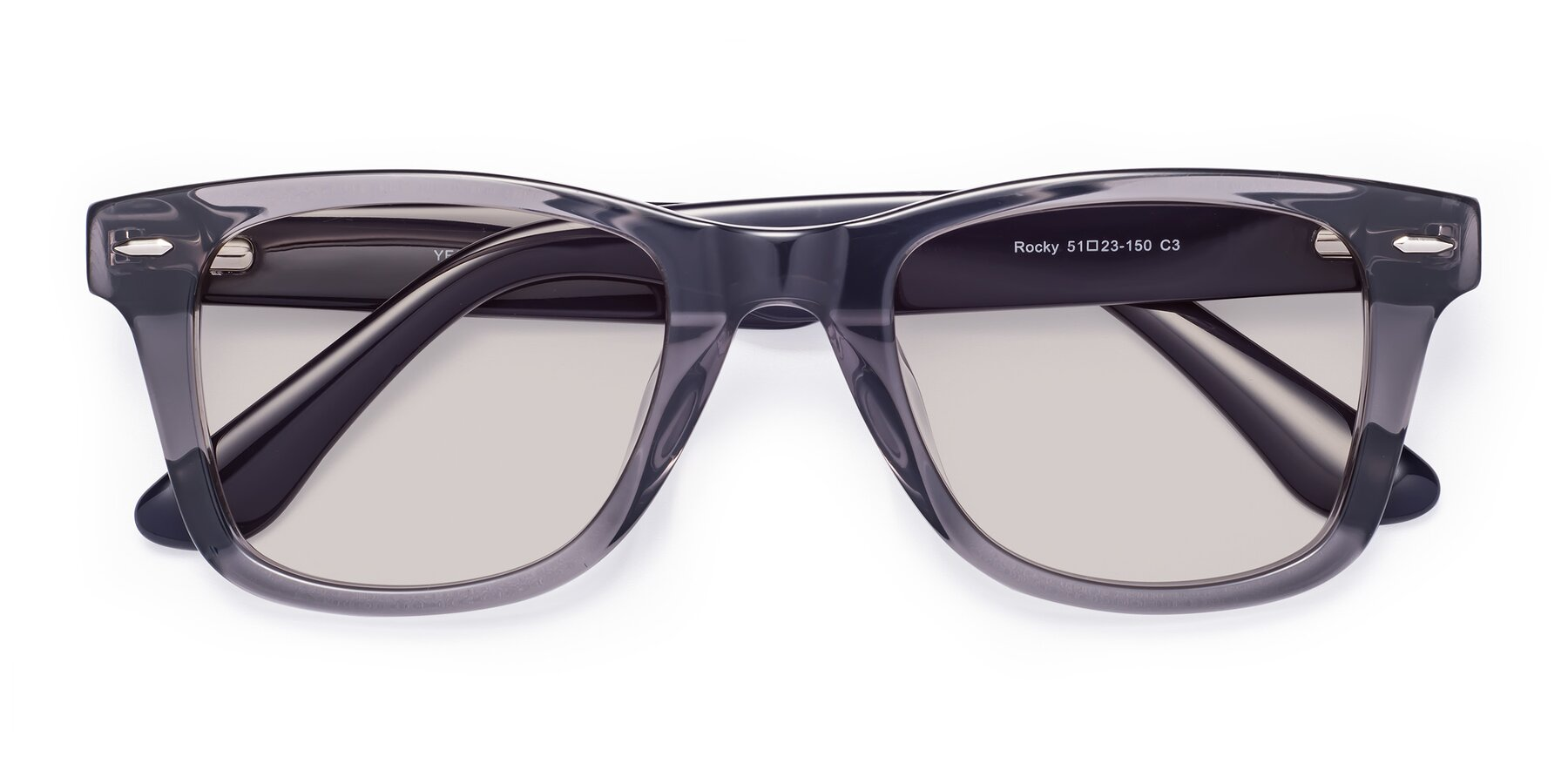 Folded Front of Rocky in Transprent Grey with Light Brown Tinted Lenses