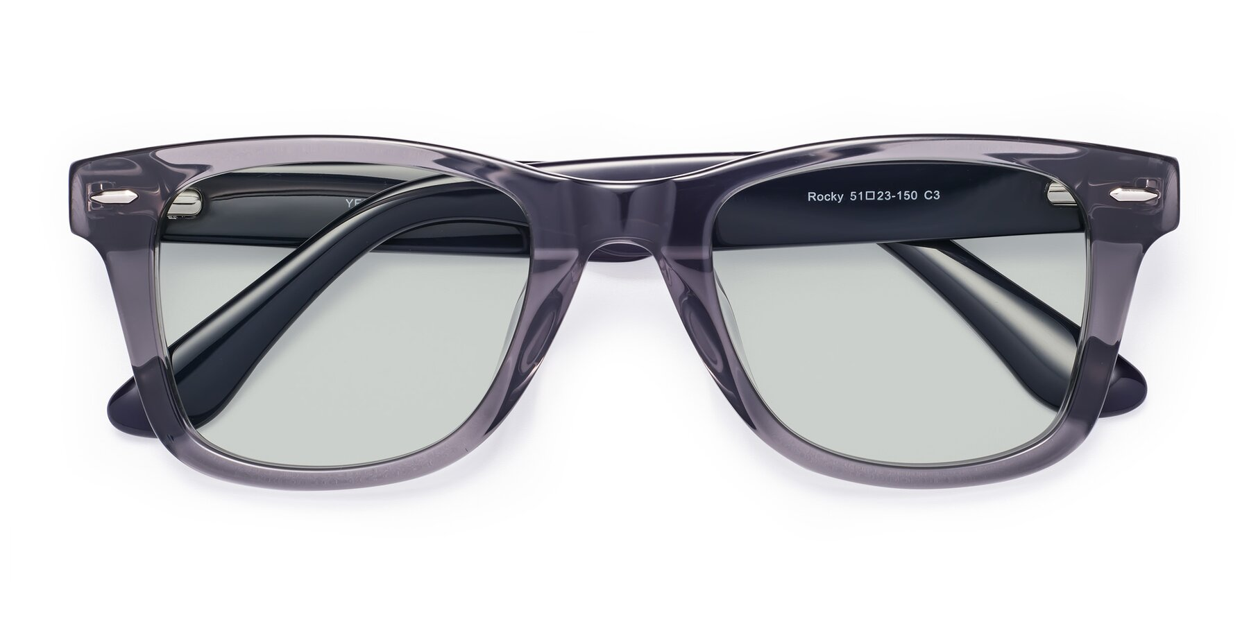 Folded Front of Rocky in Transprent Grey with Light Green Tinted Lenses