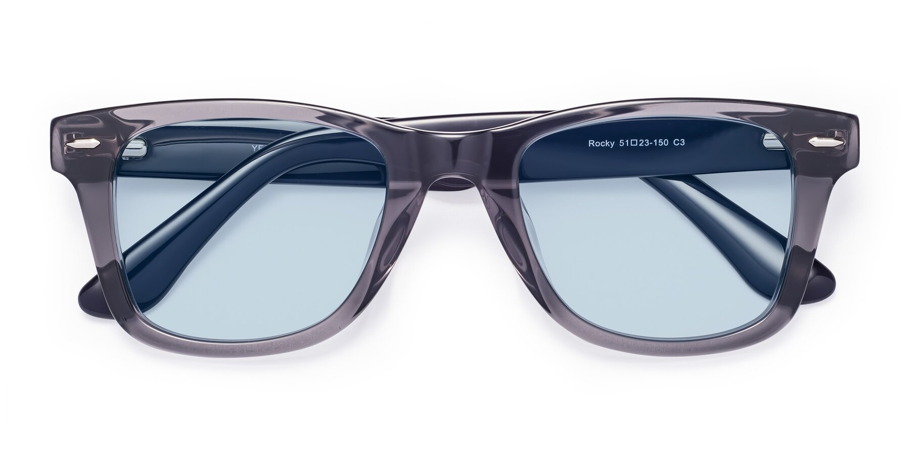 Folded Front of Rocky in Transprent Grey with Light Blue Tinted Lenses
