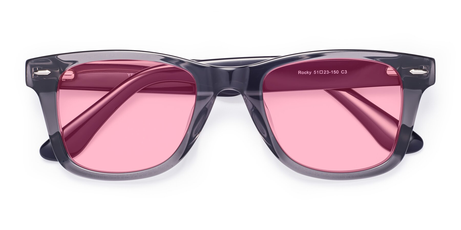 Folded Front of Rocky in Transprent Grey with Medium Pink Tinted Lenses