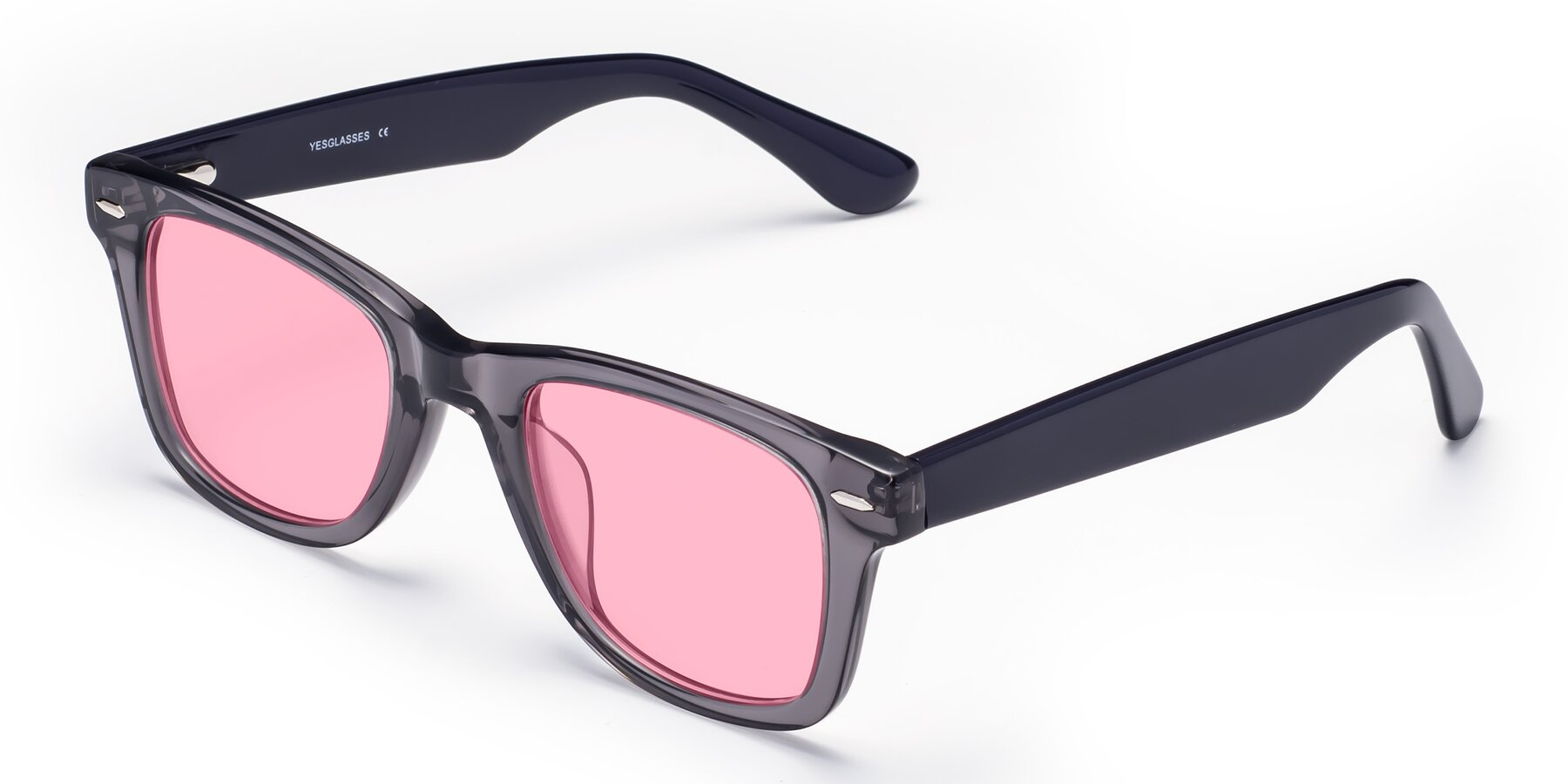 Angle of Rocky in Transprent Grey with Medium Pink Tinted Lenses
