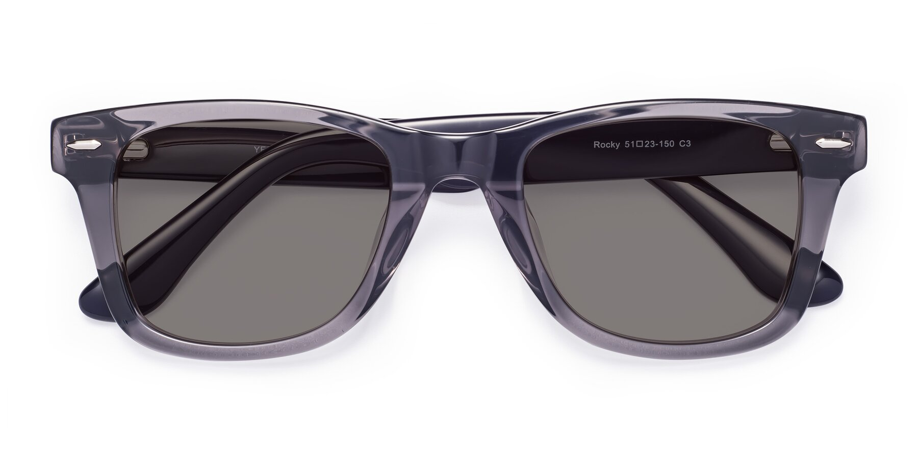 Folded Front of Rocky in Transprent Grey with Medium Gray Tinted Lenses