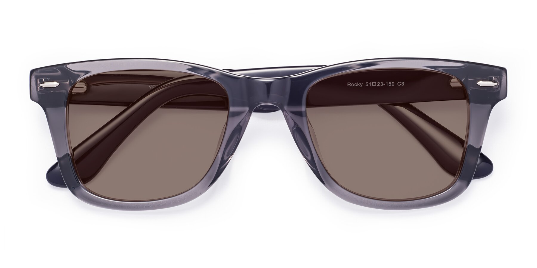 Folded Front of Rocky in Transprent Grey with Medium Brown Tinted Lenses