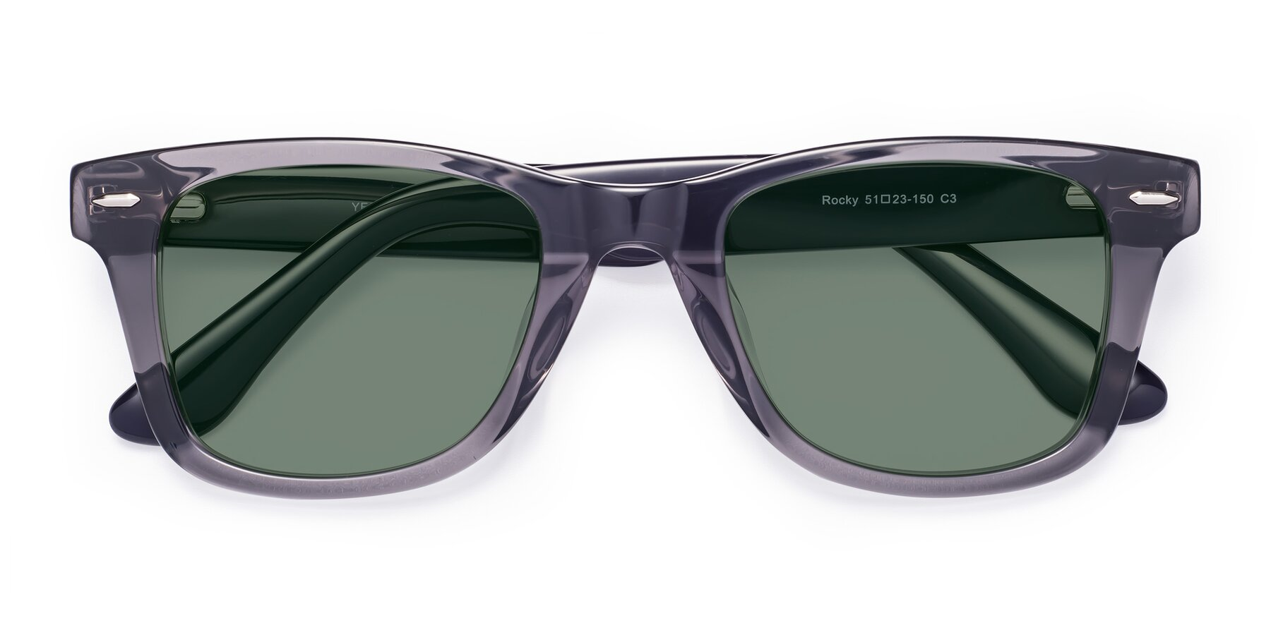 Folded Front of Rocky in Transprent Grey with Medium Green Tinted Lenses