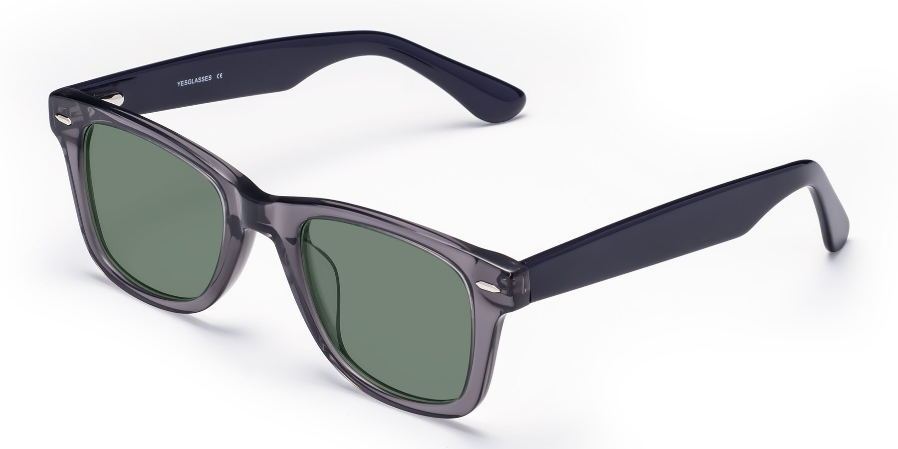 Angle of Rocky in Transprent Grey with Medium Green Tinted Lenses