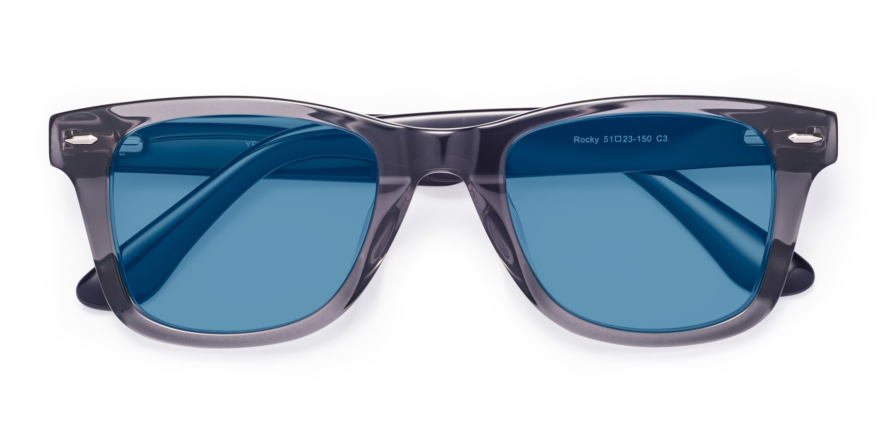Folded Front of Rocky in Transprent Grey with Medium Blue Tinted Lenses