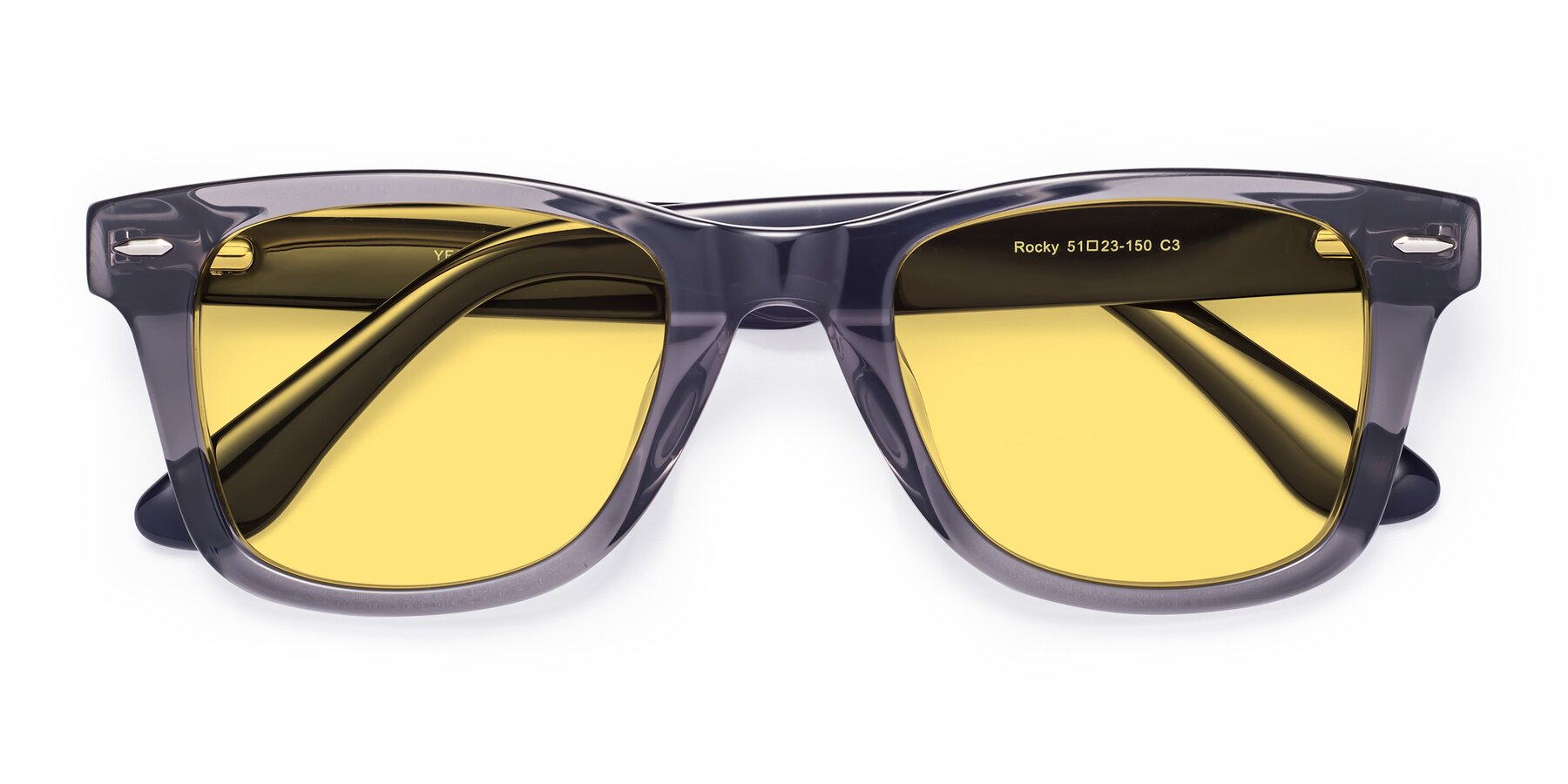 Folded Front of Rocky in Transprent Grey with Medium Yellow Tinted Lenses