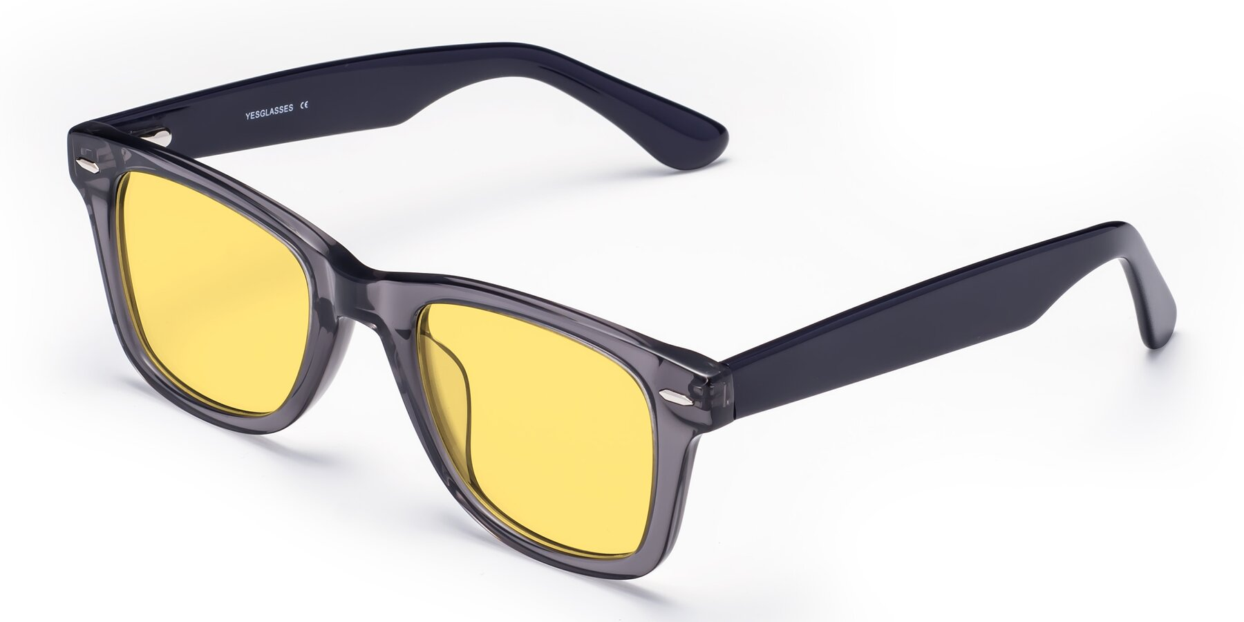Angle of Rocky in Transprent Grey with Medium Yellow Tinted Lenses
