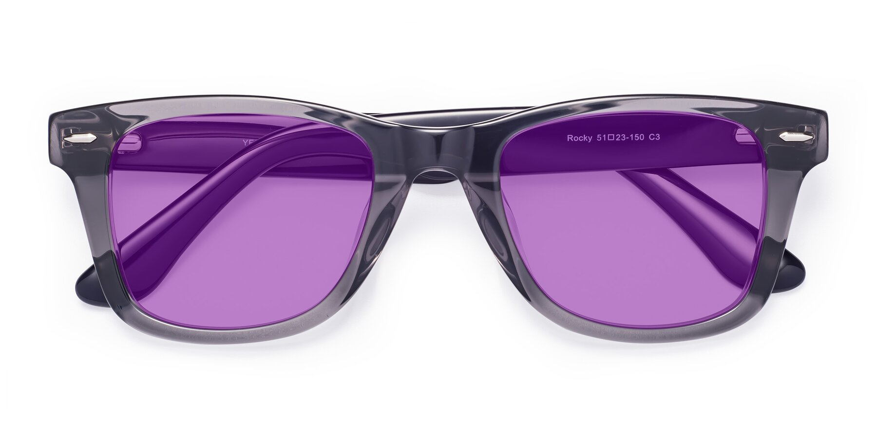 Folded Front of Rocky in Transprent Grey with Medium Purple Tinted Lenses