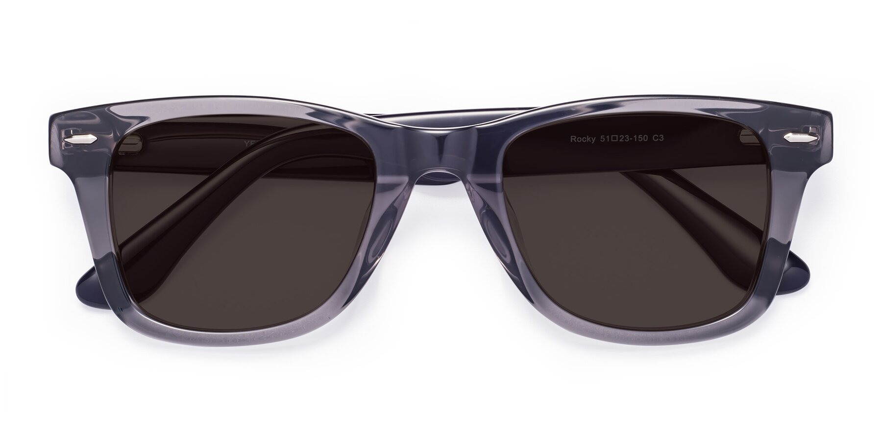 Folded Front of Rocky in Transprent Grey with Gray Tinted Lenses