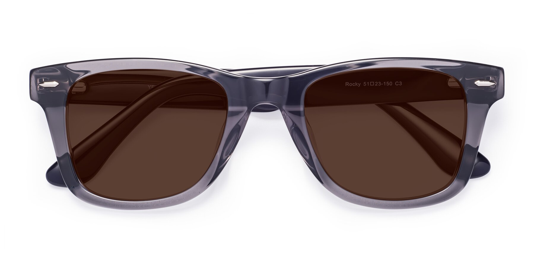 Folded Front of Rocky in Transprent Grey with Brown Tinted Lenses