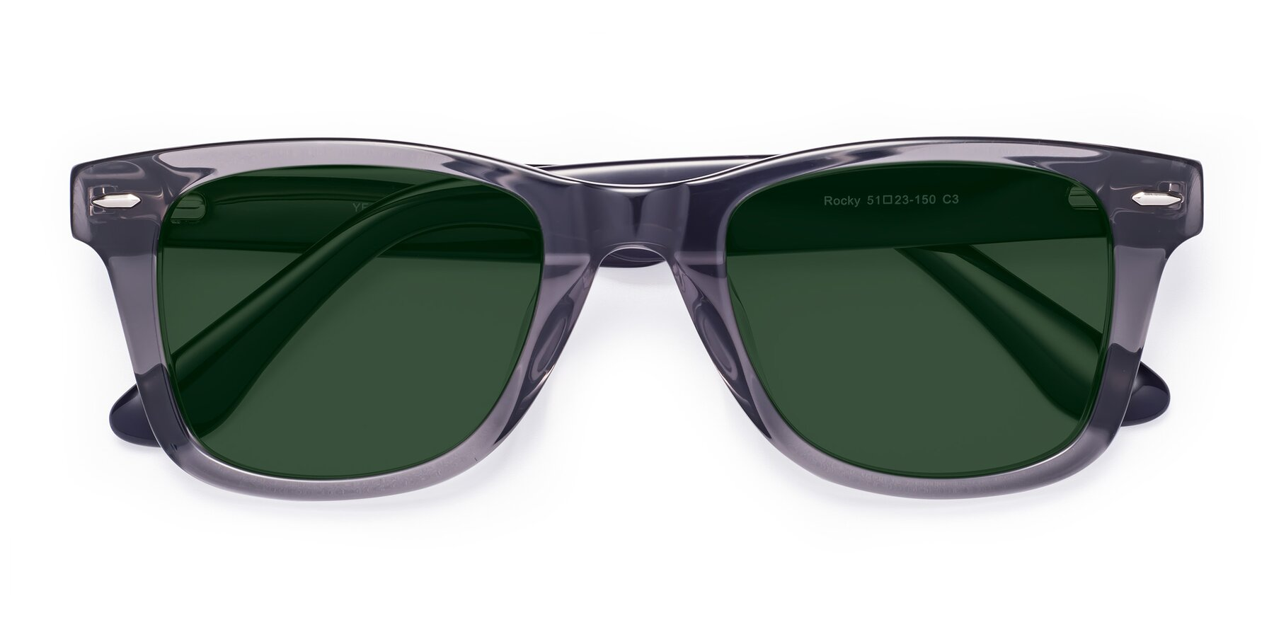 Folded Front of Rocky in Transprent Grey with Green Tinted Lenses
