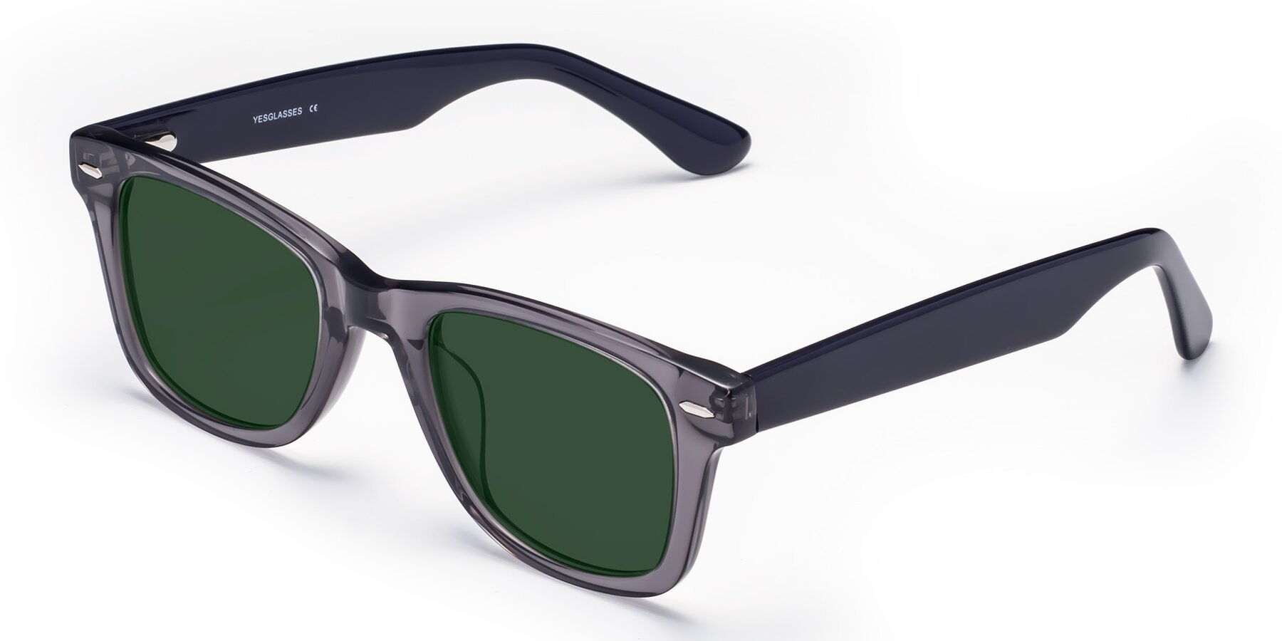 Angle of Rocky in Transprent Grey with Green Tinted Lenses