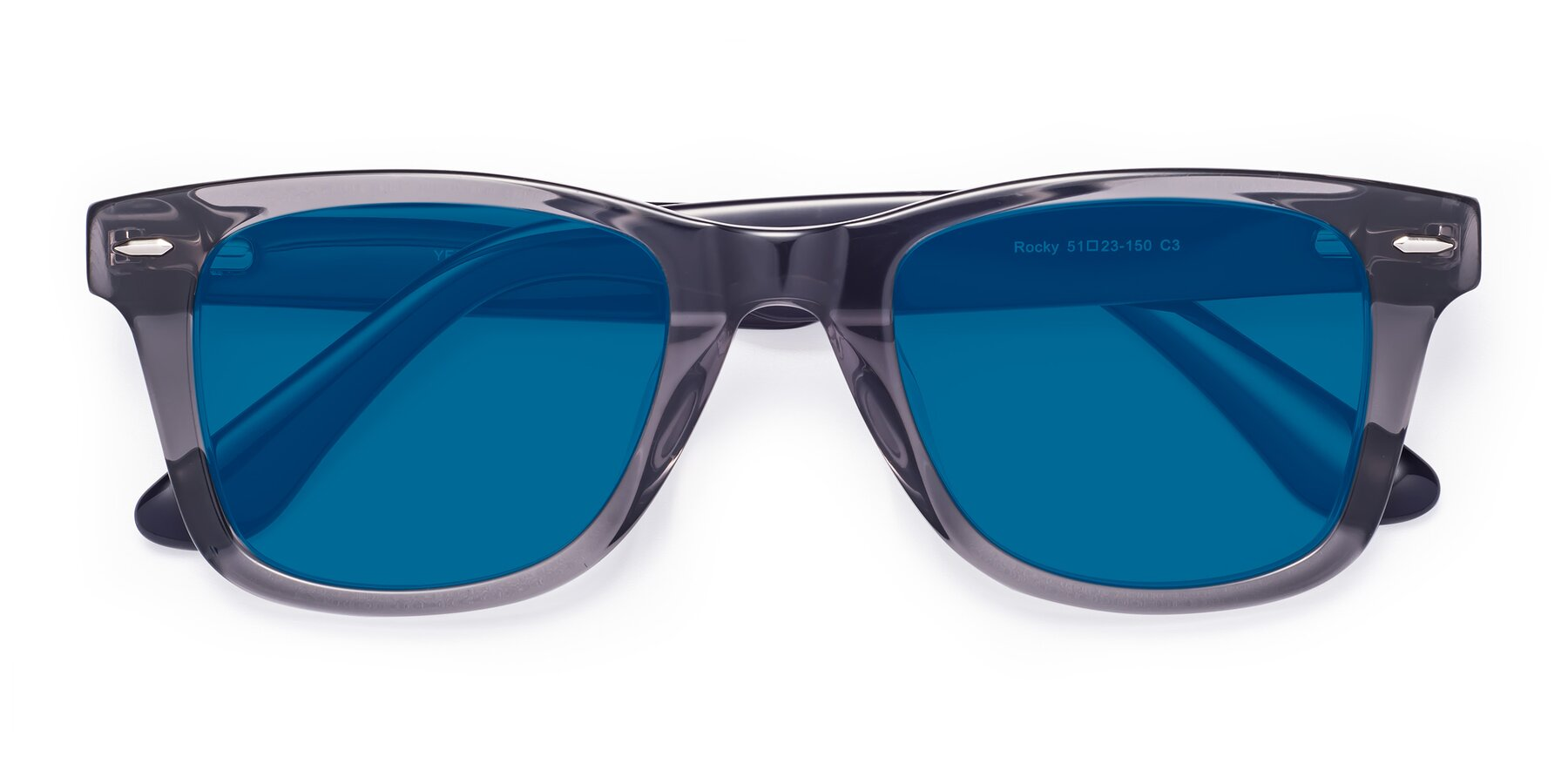 Folded Front of Rocky in Transprent Grey with Blue Tinted Lenses
