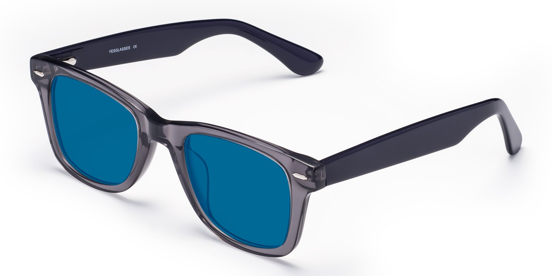Angle of Rocky in Transprent Grey with Blue Tinted Lenses