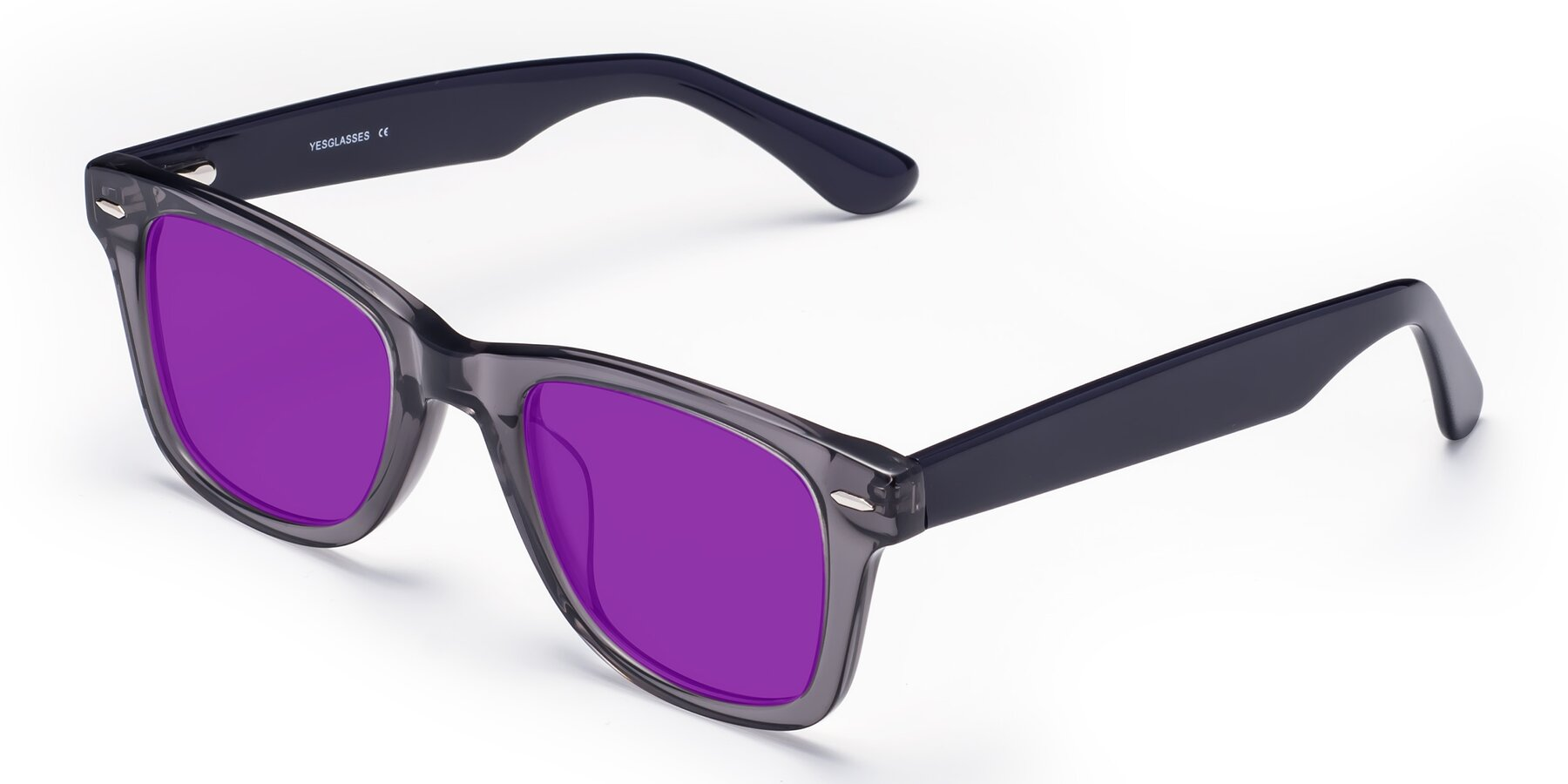 Angle of Rocky in Transprent Grey with Purple Tinted Lenses