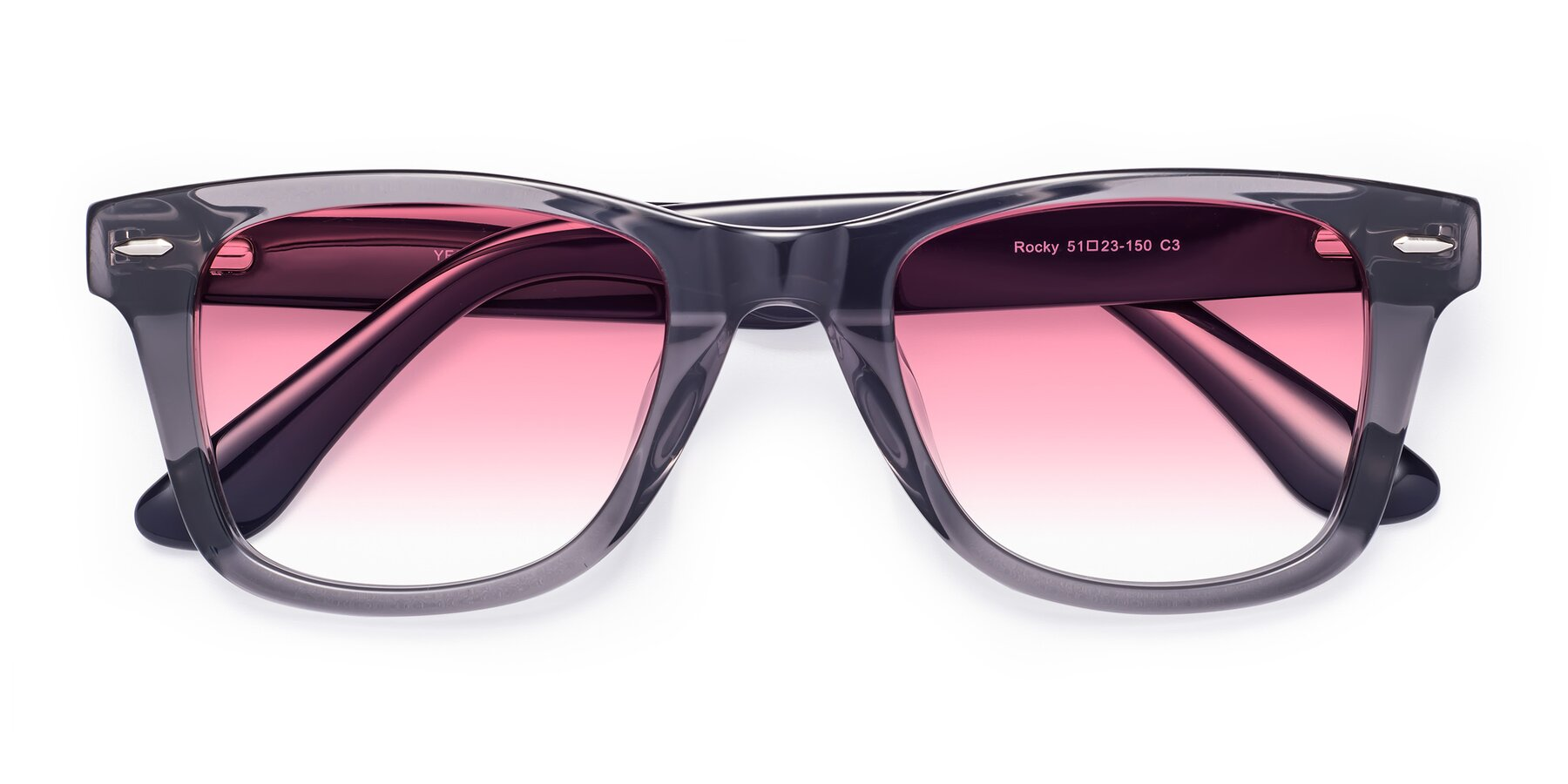 Folded Front of Rocky in Transprent Grey with Pink Gradient Lenses