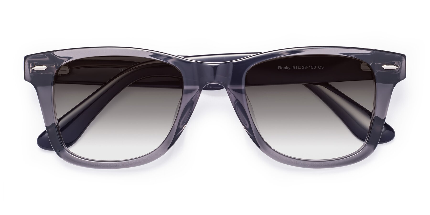 Folded Front of Rocky in Transprent Grey with Gray Gradient Lenses