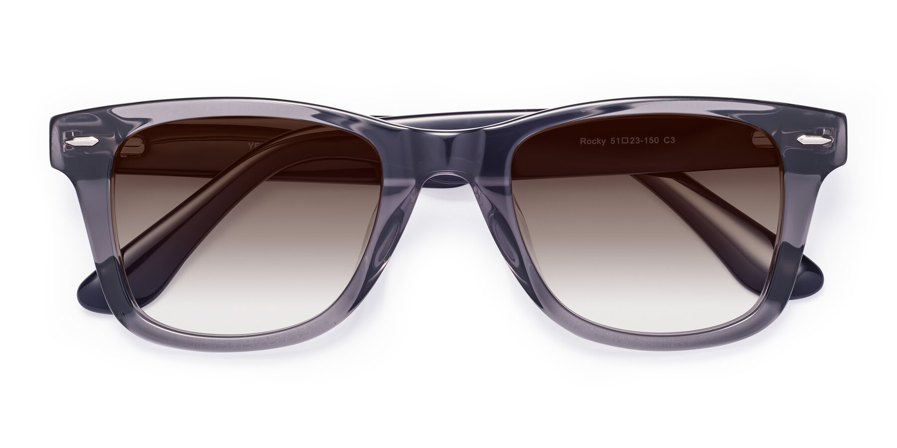 Folded Front of Rocky in Transprent Grey with Brown Gradient Lenses