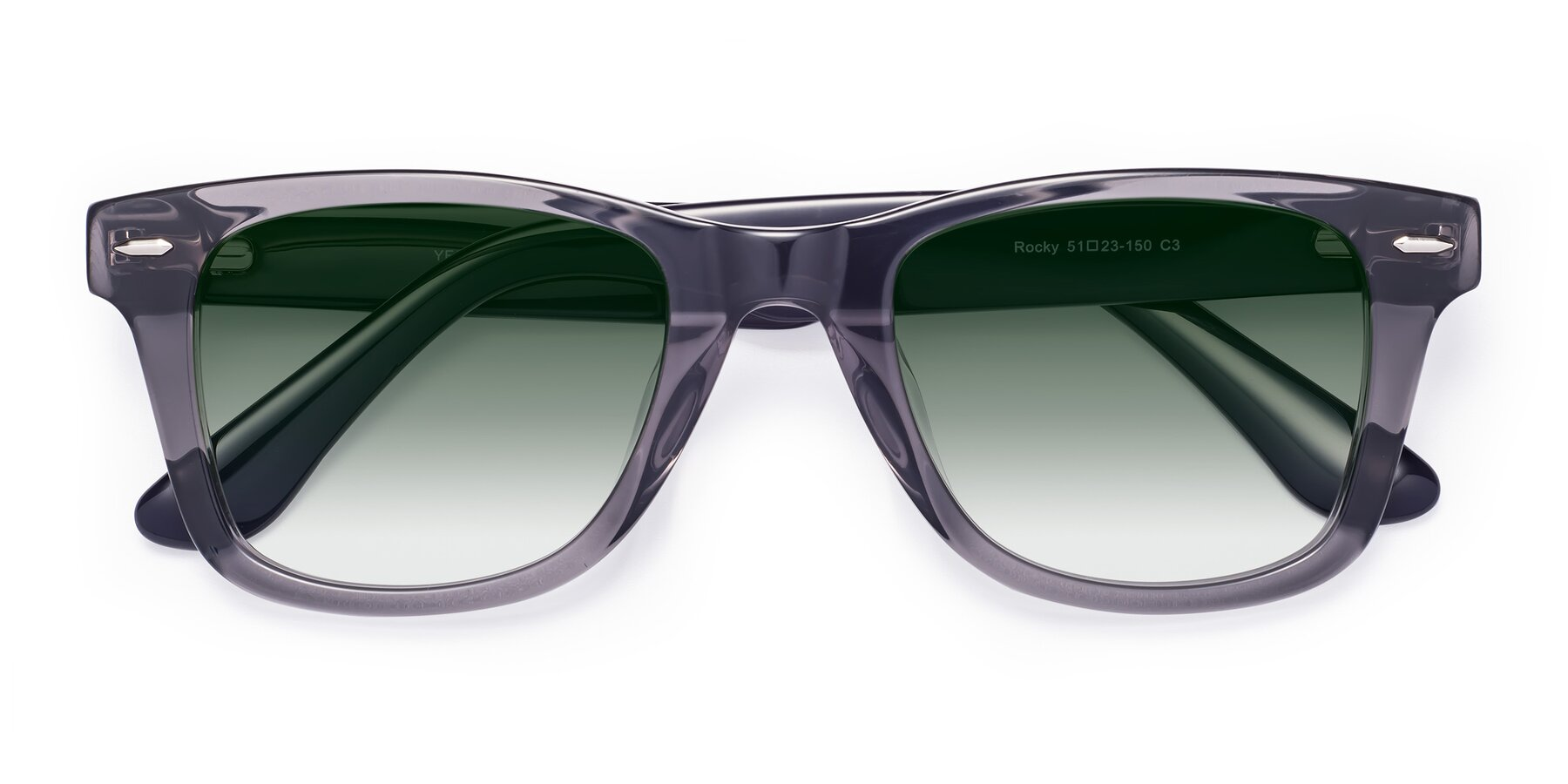 Folded Front of Rocky in Transprent Grey with Green Gradient Lenses