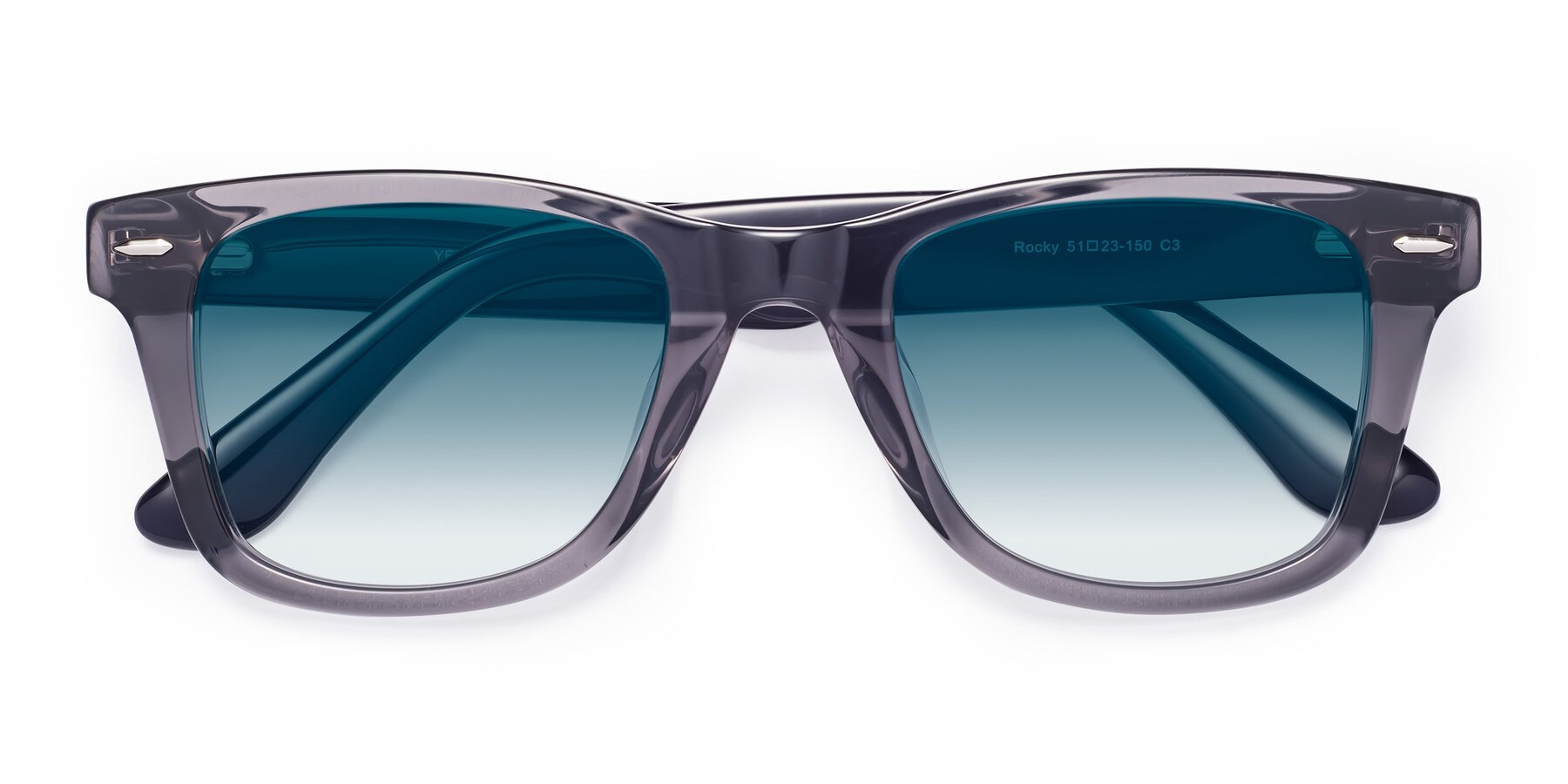 Folded Front of Rocky in Transprent Grey with Blue Gradient Lenses