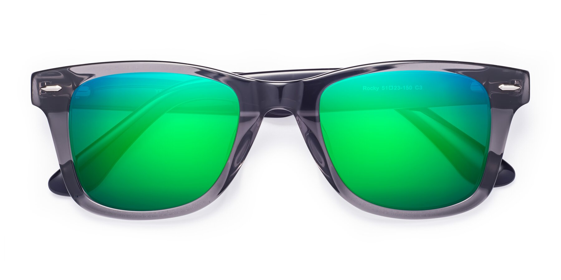 Folded Front of Rocky in Transprent Grey with Green Mirrored Lenses