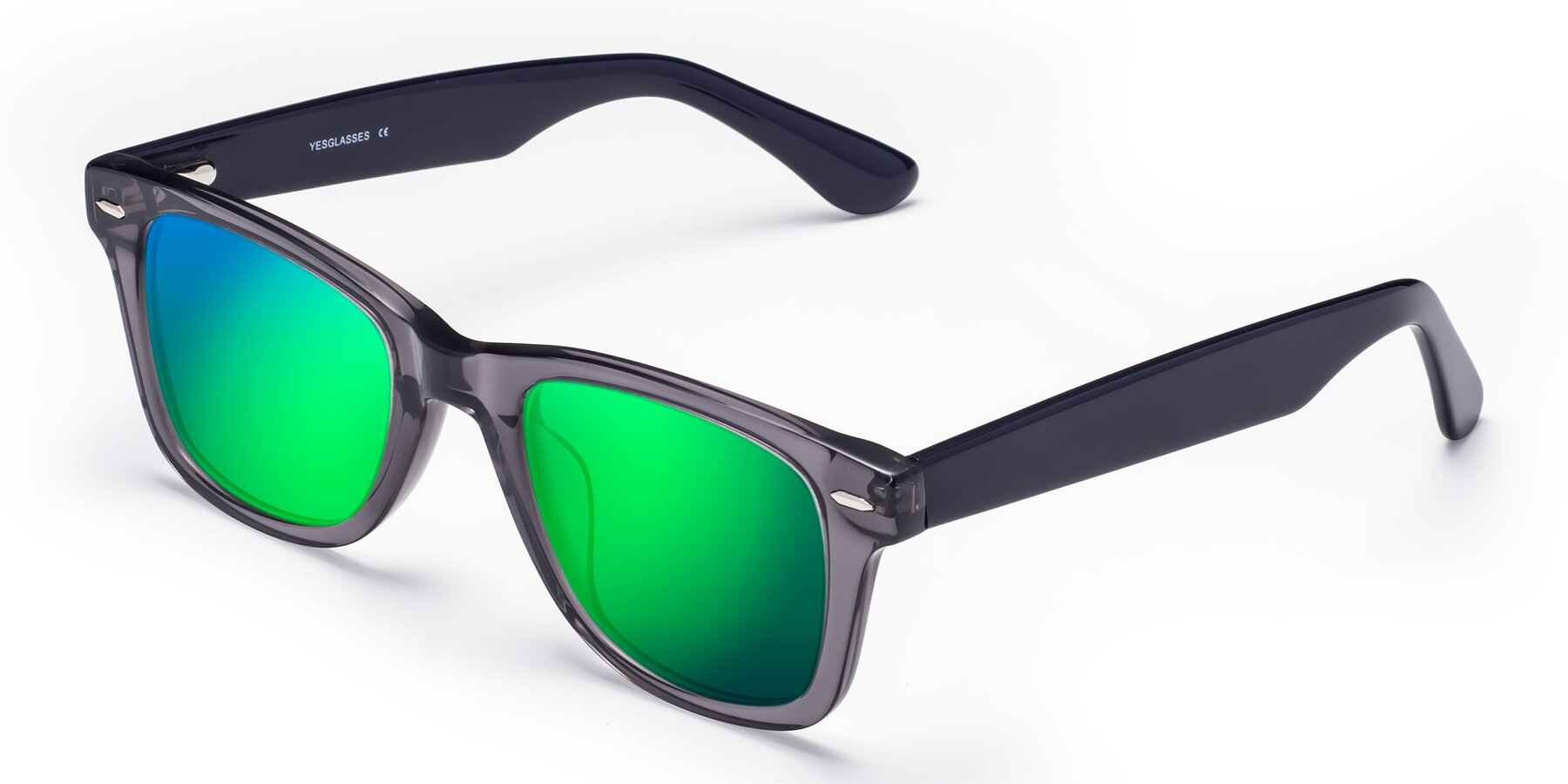 Angle of Rocky in Transprent Grey with Green Mirrored Lenses