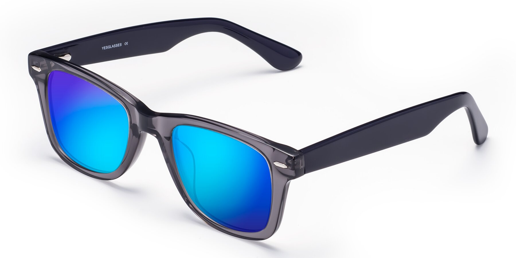 Angle of Rocky in Transprent Grey with Blue Mirrored Lenses