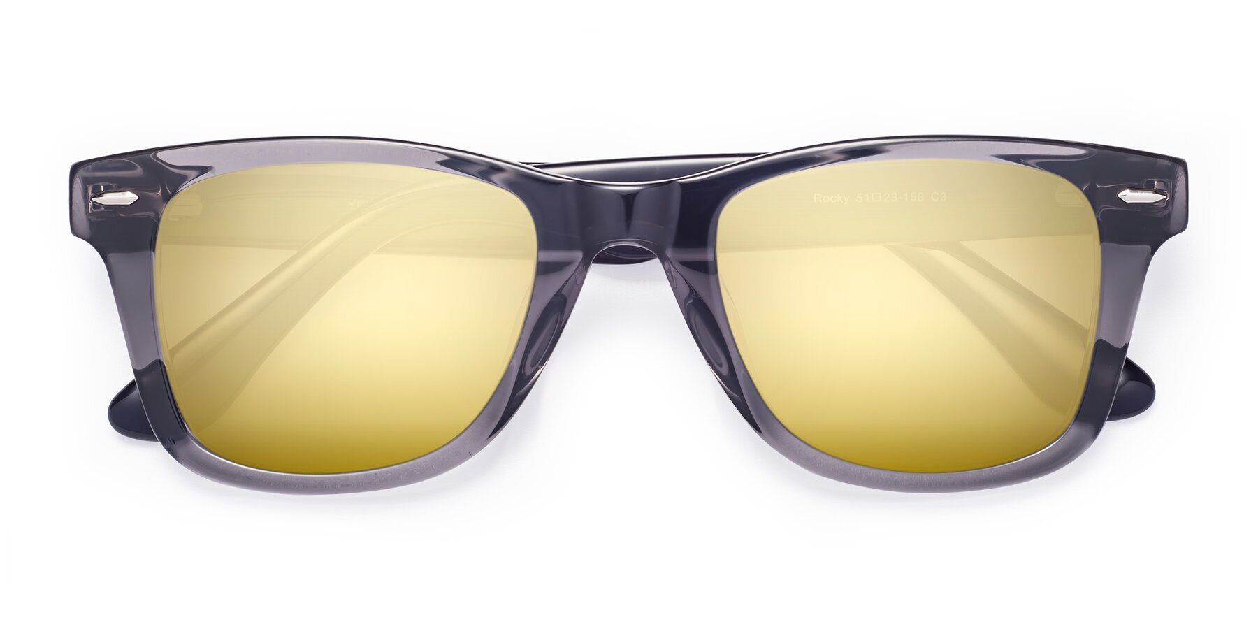 Folded Front of Rocky in Transprent Grey with Gold Mirrored Lenses